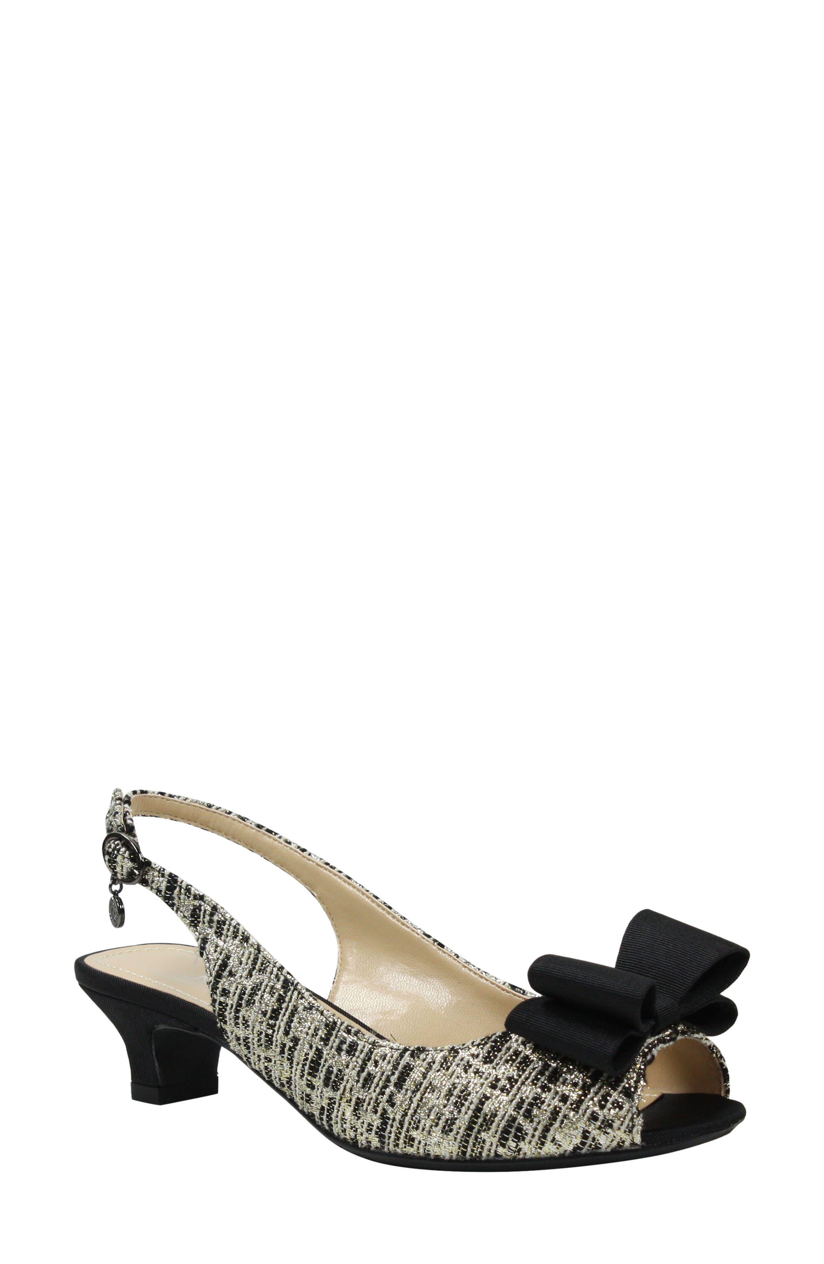 J. RENEÉ Landan Bow Slingback Sandal, Main, color, BLACK/ GOLD/ SILVER FABRIC