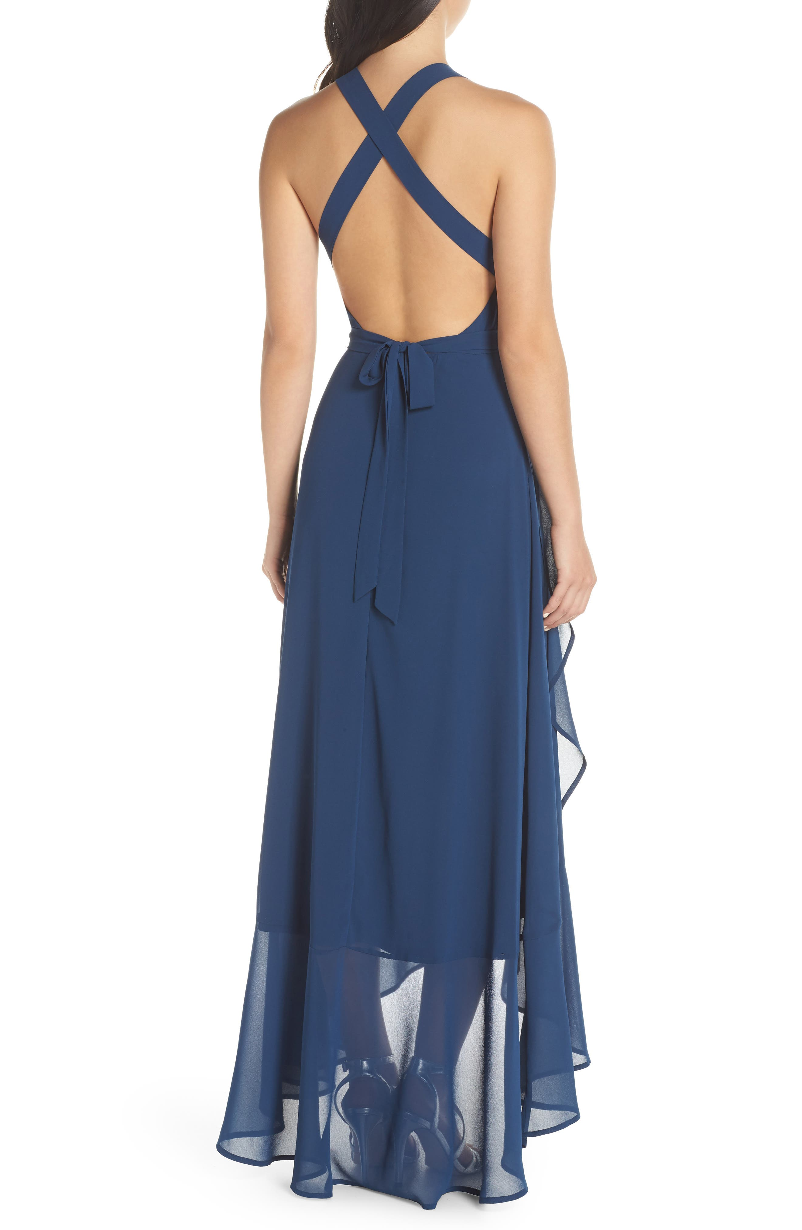 LULUS, Wrap of Luxury Convertible Gown, Alternate thumbnail 2, color, NAVY