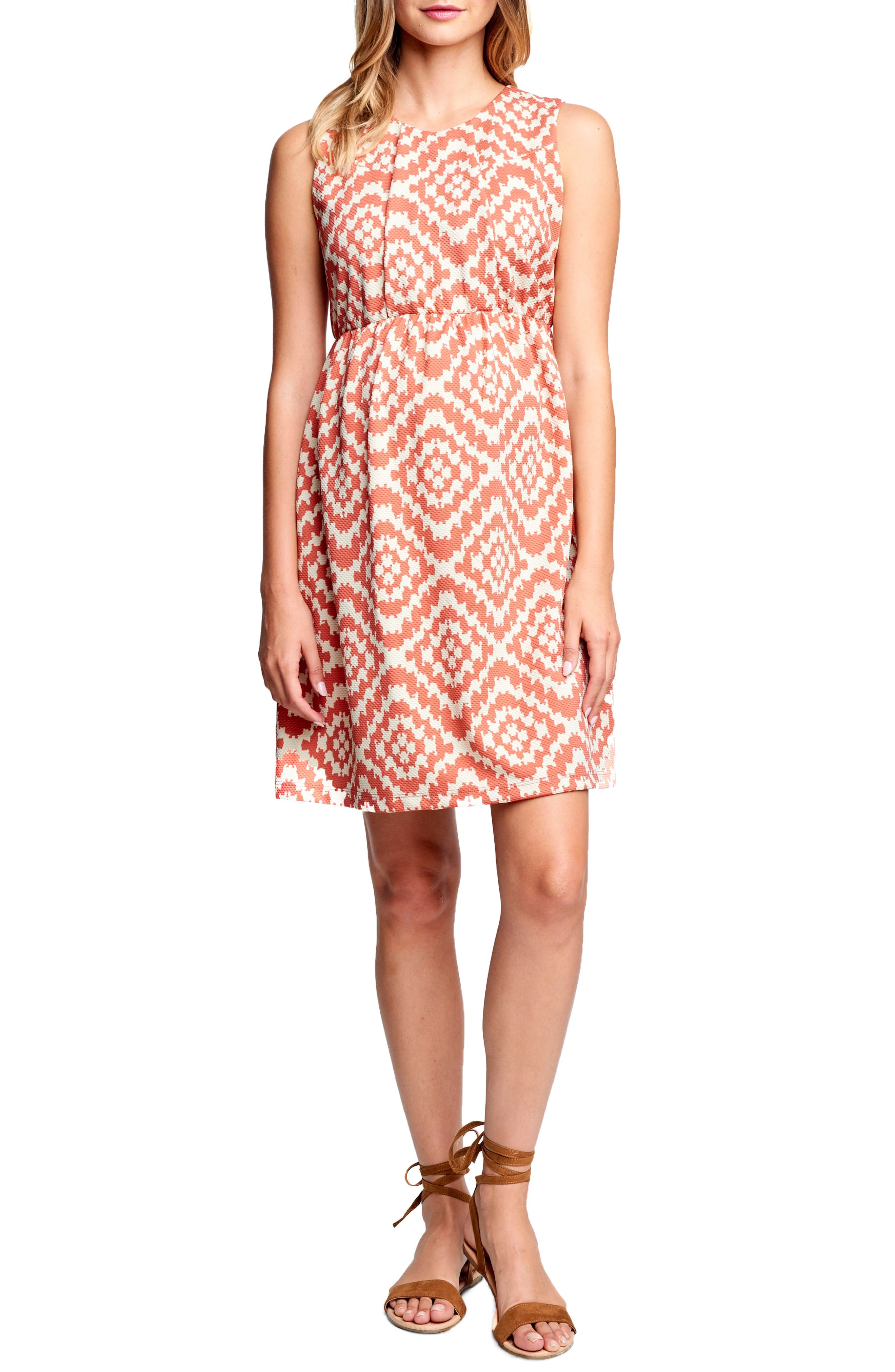 MATERNAL AMERICA, 'Vintage' Textured Maternity Dress, Main thumbnail 1, color, APRICOT TAPESTRY
