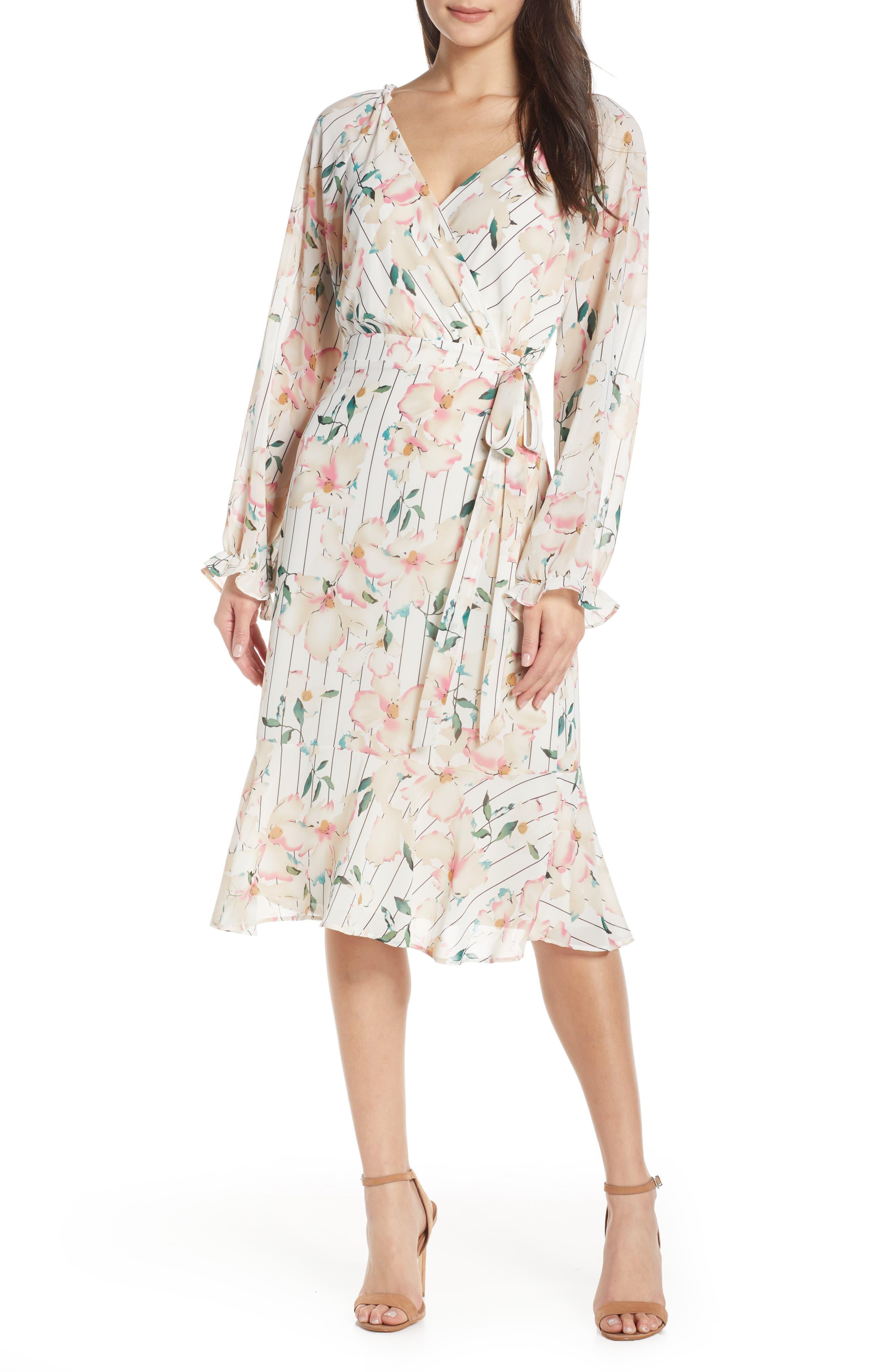 Chelsea28 Stripe & Floral Long Sleeve Faux Wrap Midi Dress, Ivory