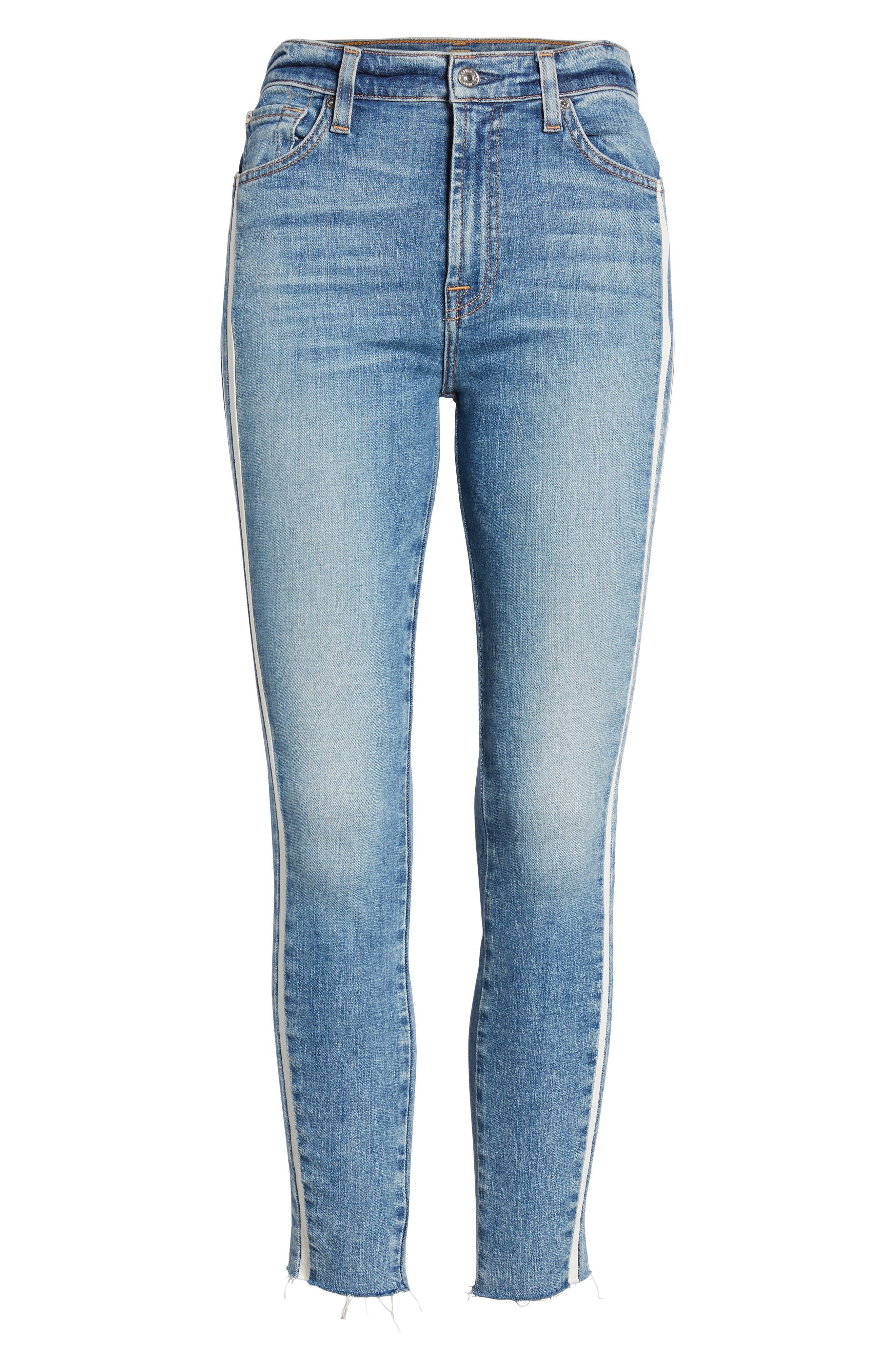 7 FOR ALL MANKIND<SUP>®</SUP>, Side Stripe Ankle Skinny Jeans, Alternate thumbnail 7, color, SLOANE VINTAGE