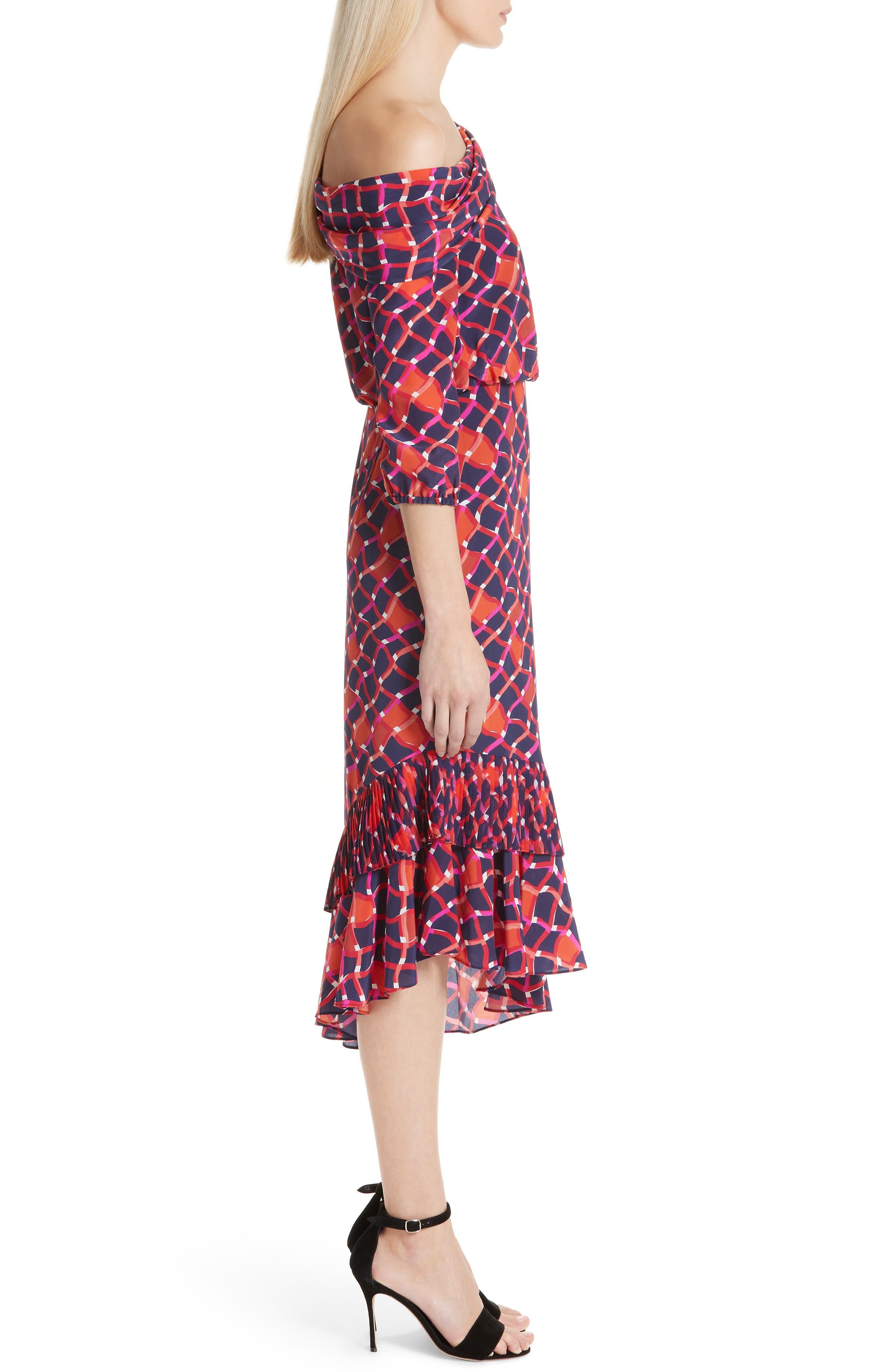 SALONI, Lexie Silk Asymmetrical Dress, Alternate thumbnail 3, color, MAZE