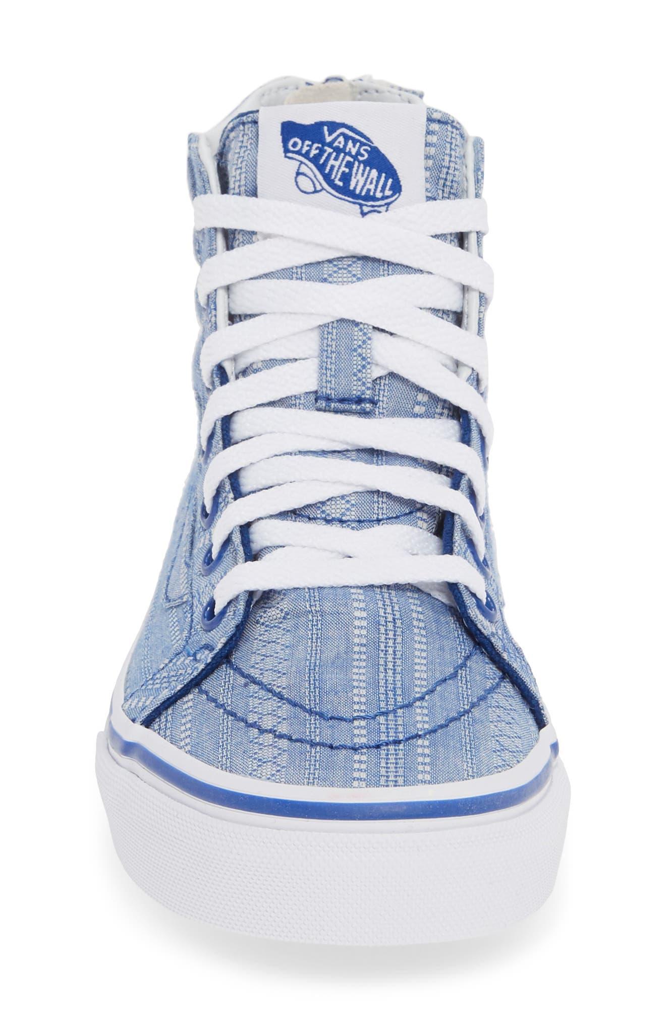 VANS, Sk8-Hi Zip Sneaker, Alternate thumbnail 4, color, TRUE BLUE/ TRUE WHITE
