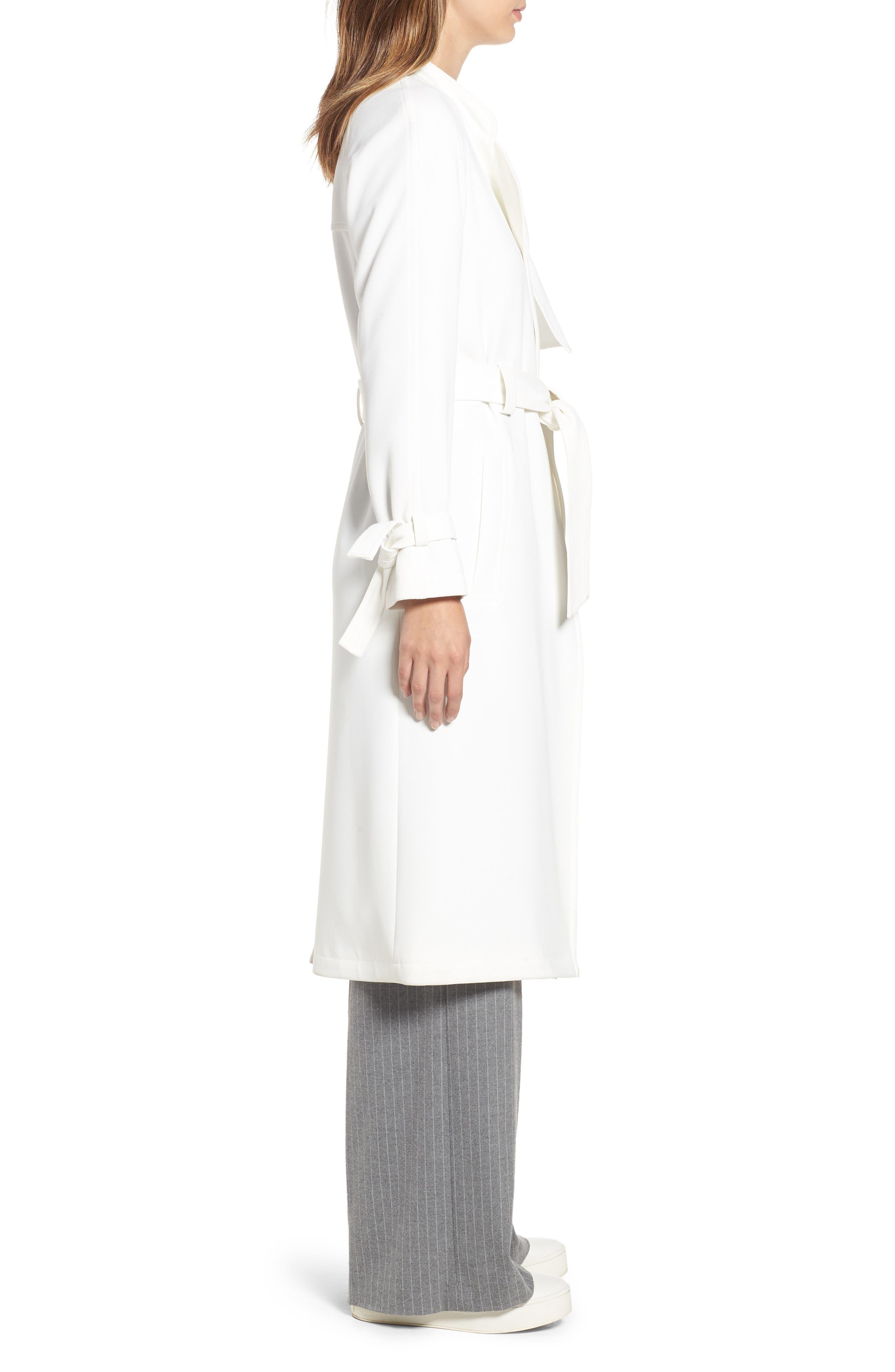 RACHEL RACHEL ROY, Luxe Crepe Trench Coat, Alternate thumbnail 3, color, WHITE