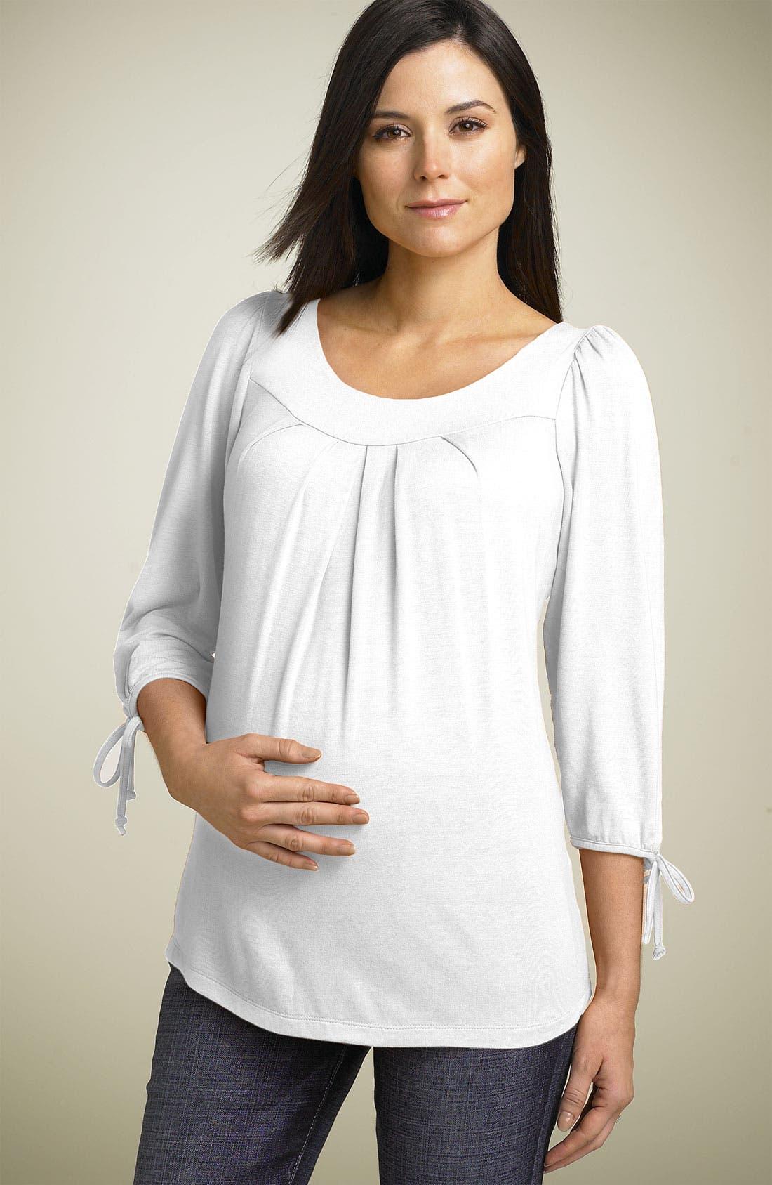 MATERNAL AMERICA, Maternity Tie Sleeve Top, Main thumbnail 1, color, BLACK