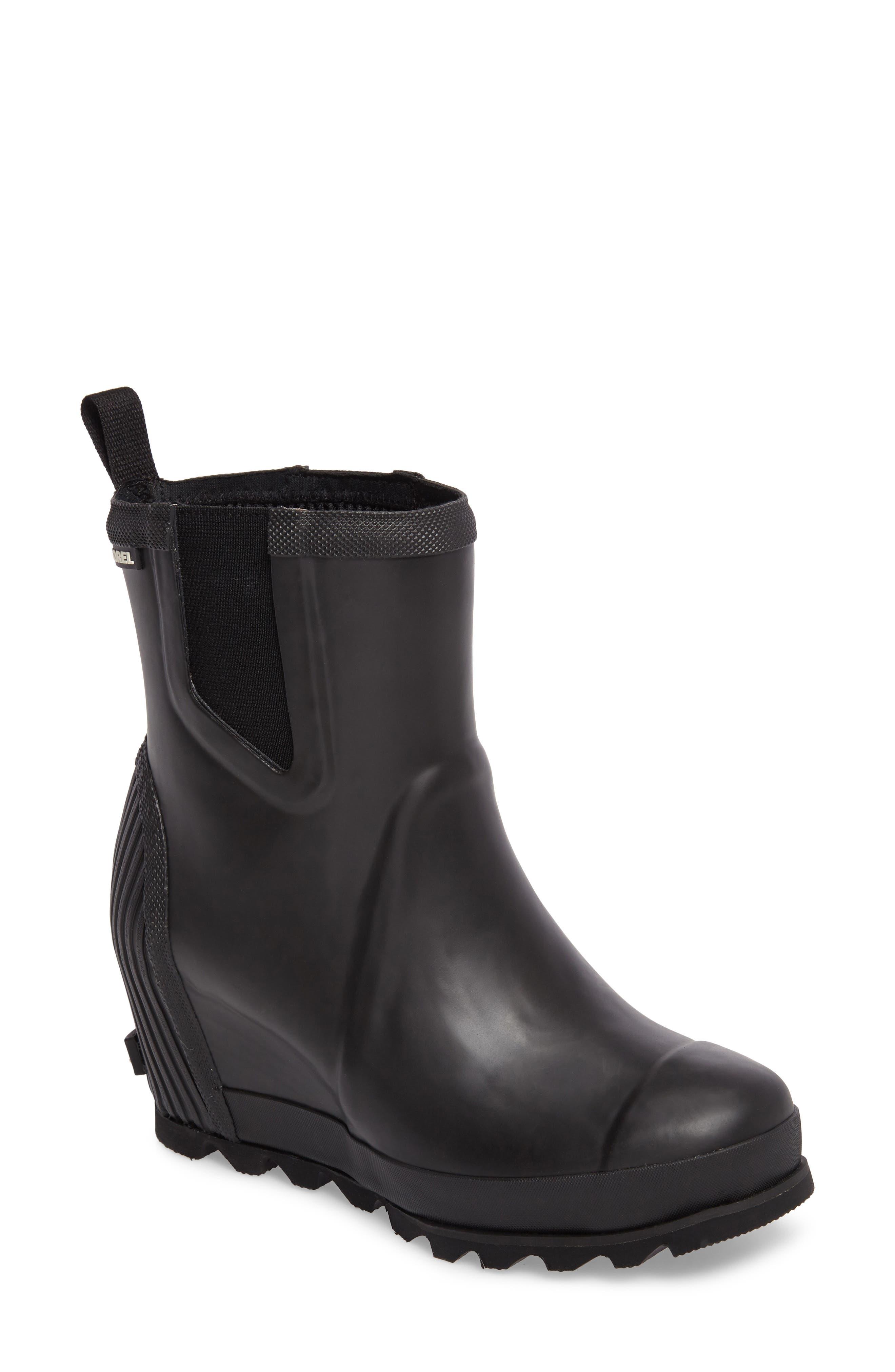 SOREL Joan of Arctic<sup>™</sup> Wedge Chelsea Rain Boot, Main, color, 010