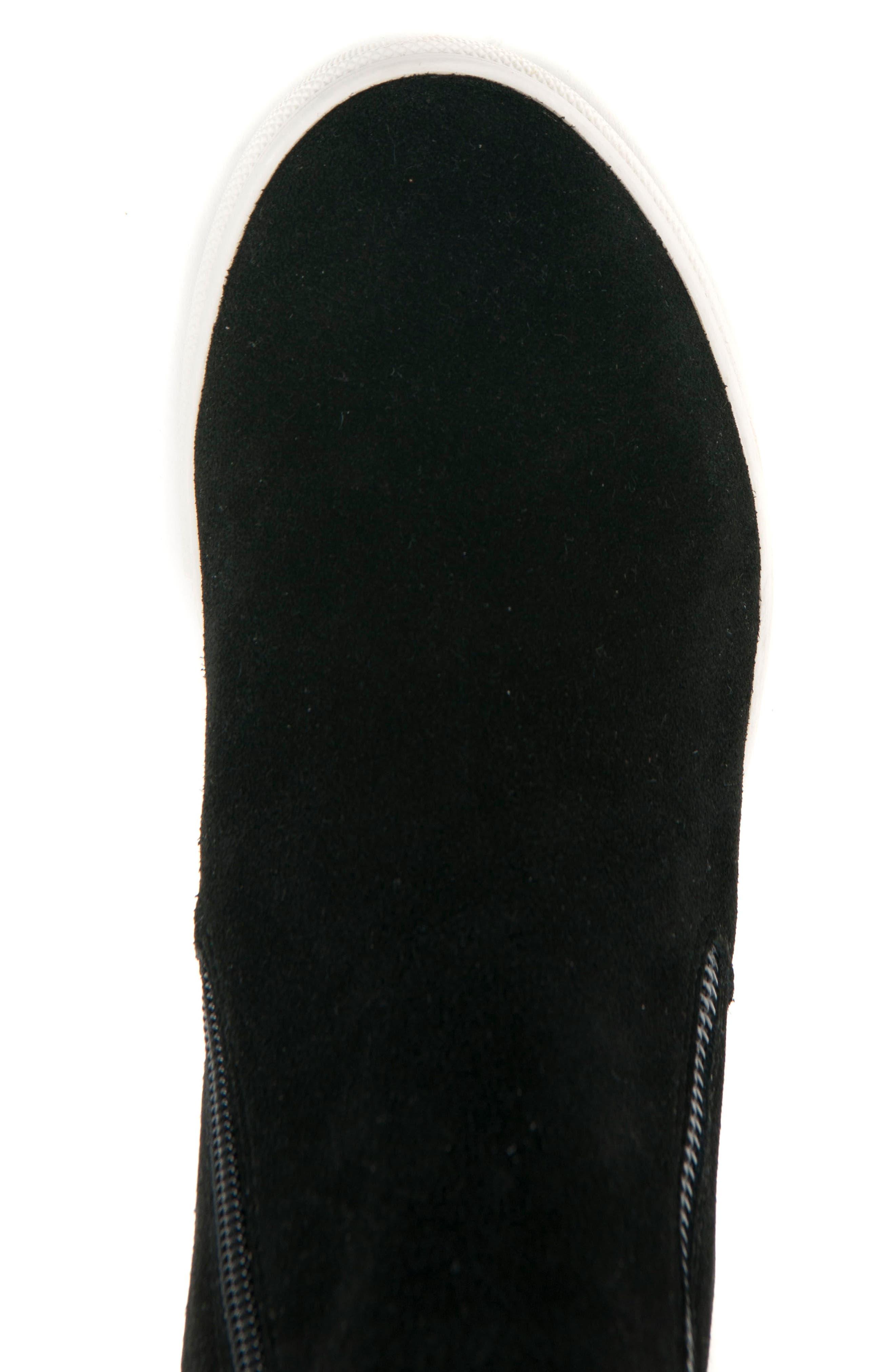 BLONDO, Giselle Waterproof Sneaker, Alternate thumbnail 5, color, BLACK SUEDE
