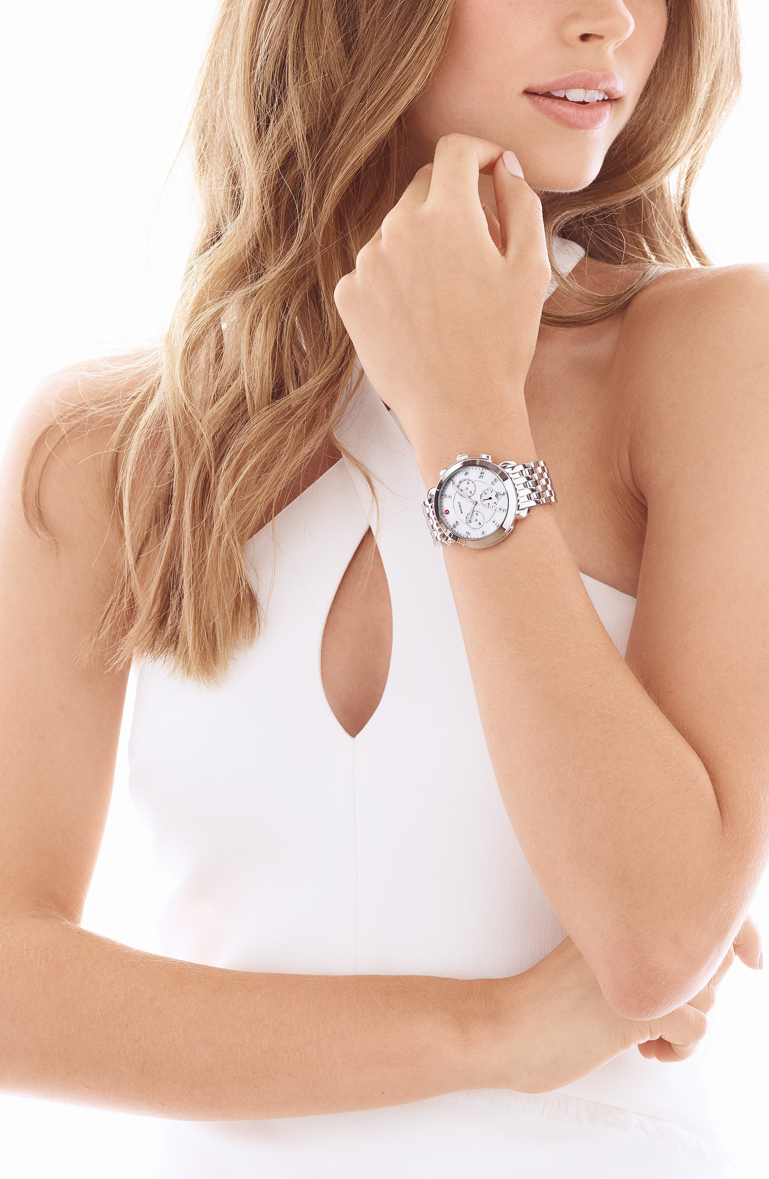 MICHELE, Sidney Chronograph Diamond Watch Head, 38mm, Alternate thumbnail 2, color, SILVER/ MOP