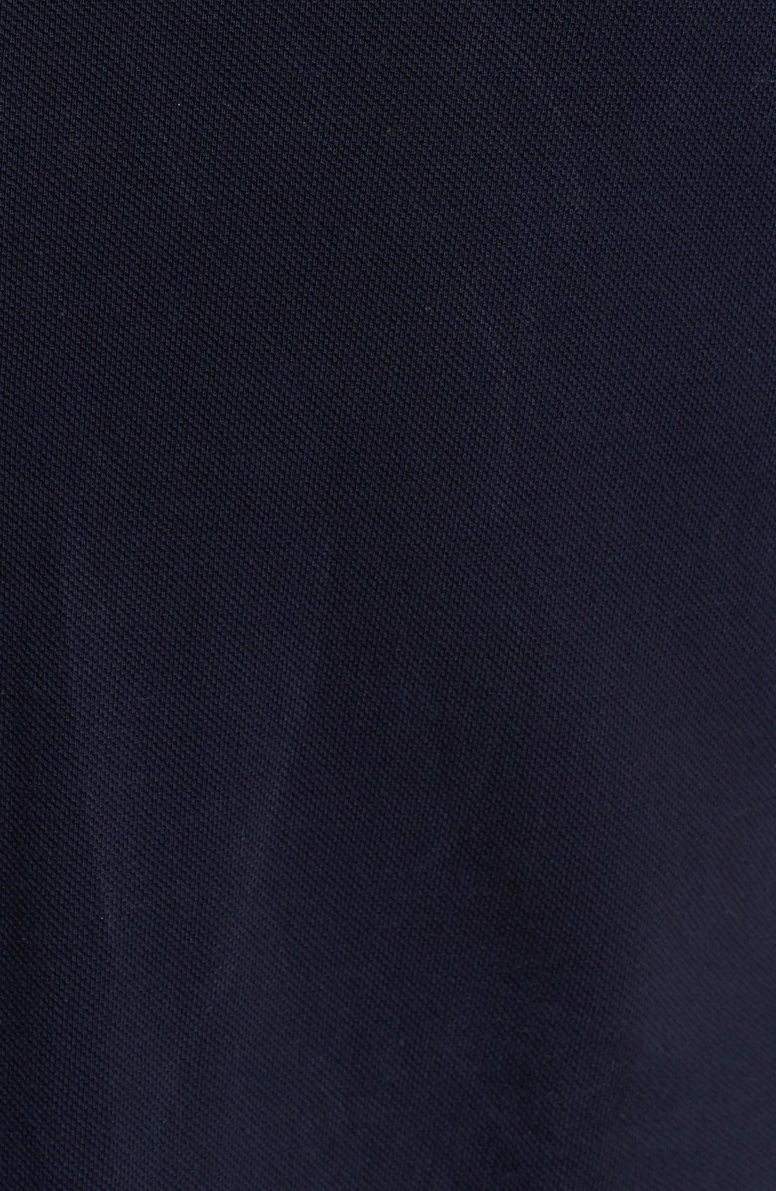 COMME DES GARÇONS, PLAY Piqué Polo with Small Heart Appliqué, Alternate thumbnail 3, color, 421