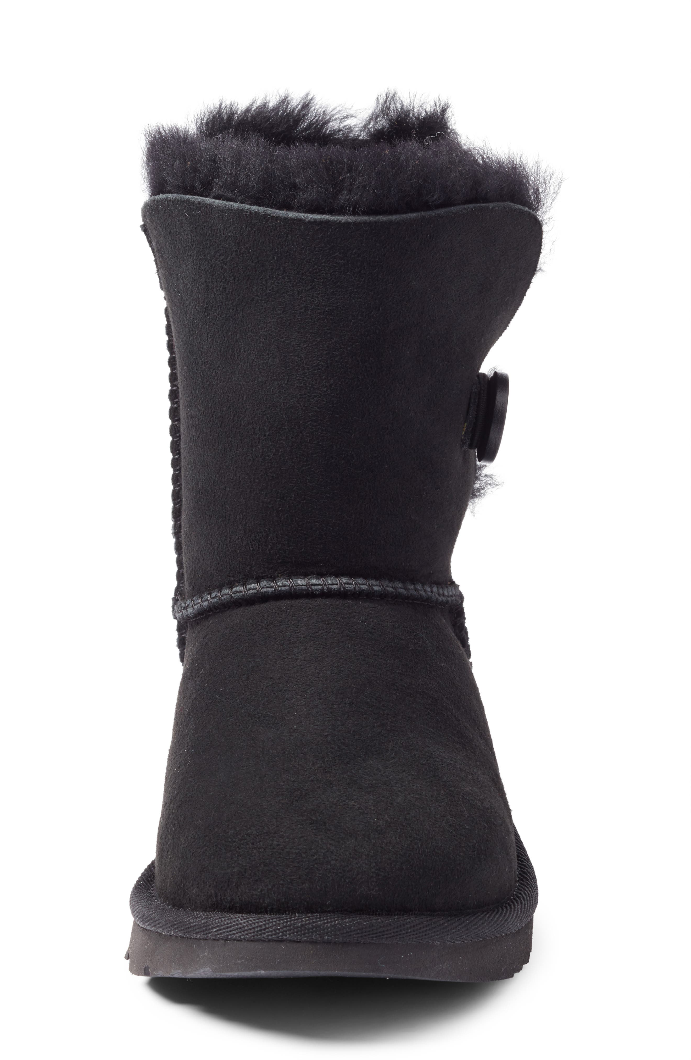 UGG<SUP>®</SUP>, Bailey Button II Water Resistant Genuine Shearling Boot, Alternate thumbnail 4, color, BLACK SUEDE