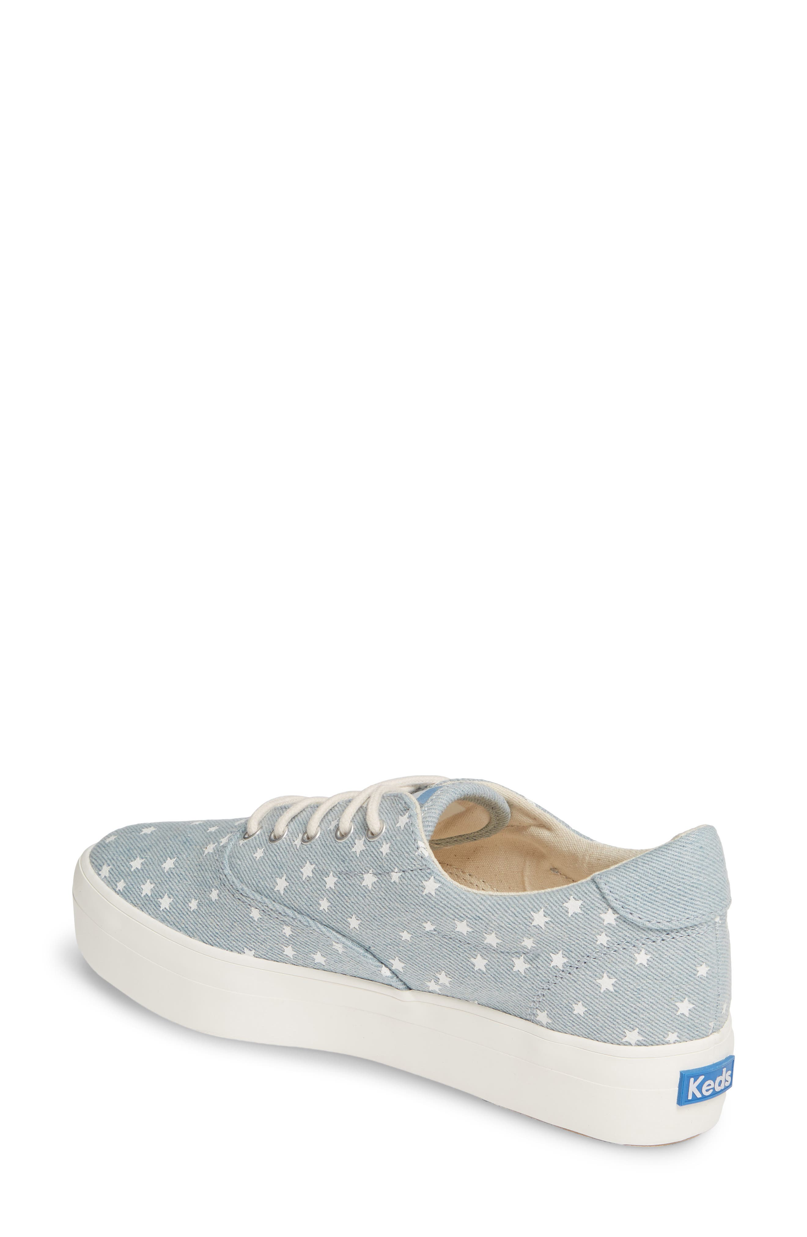 KEDS<SUP>®</SUP>, Rise Denim Star Sneaker, Alternate thumbnail 2, color, LIGHT BLUE