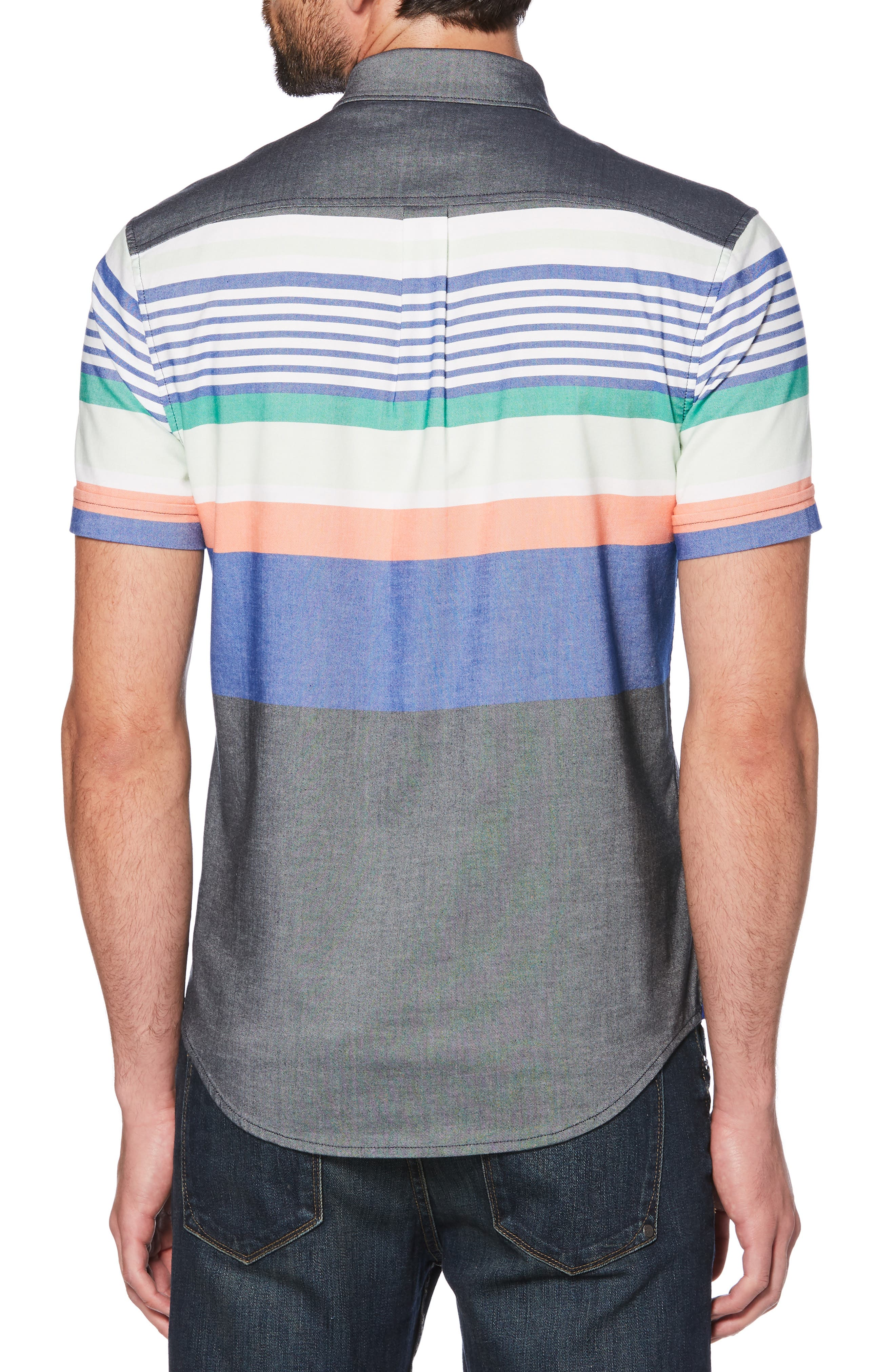 ORIGINAL PENGUIN, Engineered Stripe Woven Shirt, Alternate thumbnail 2, color, BRIGHT WHITE