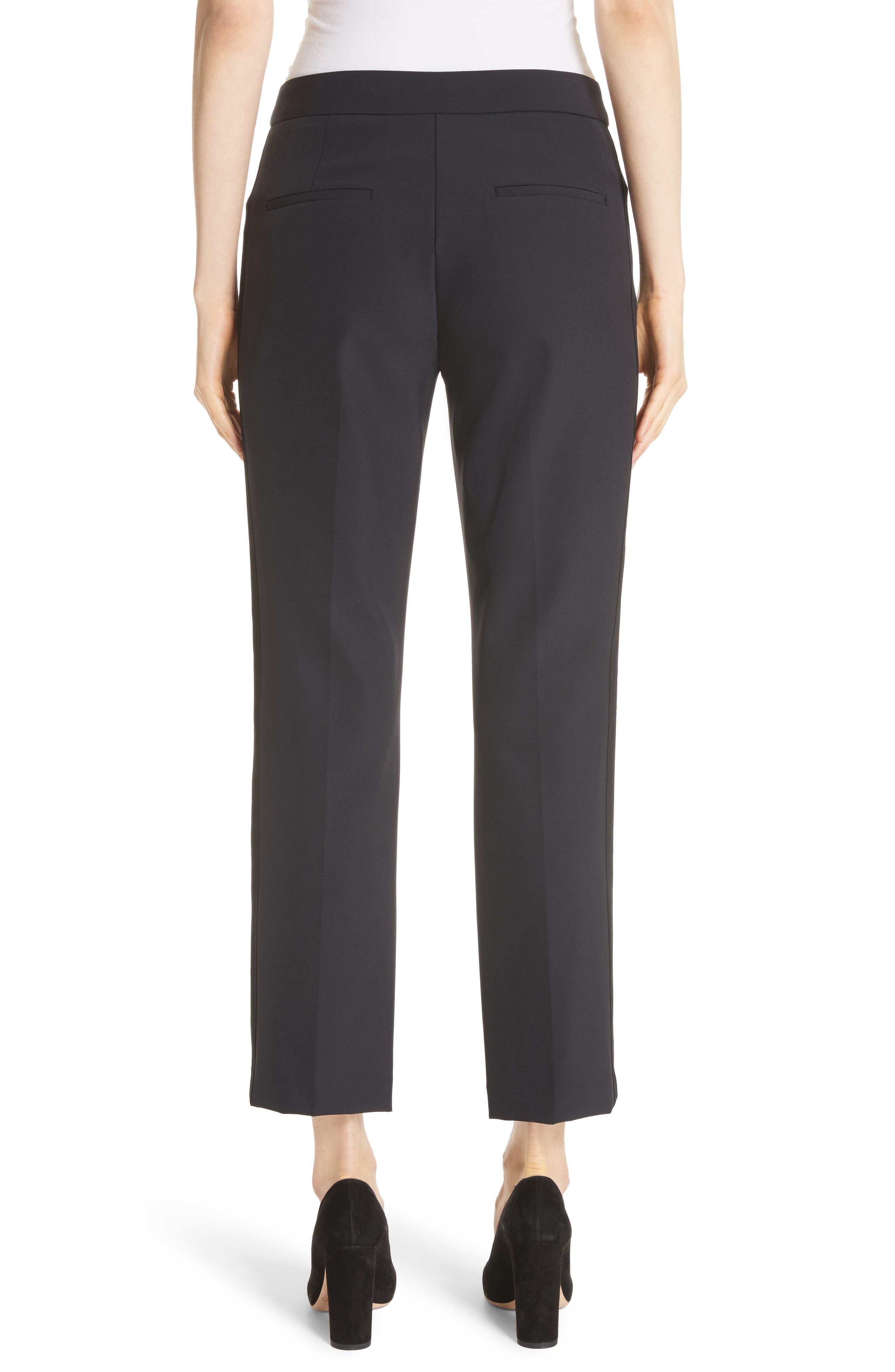 REBECCA TAYLOR, Audra Crop Pants, Alternate thumbnail 2, color, BLACK