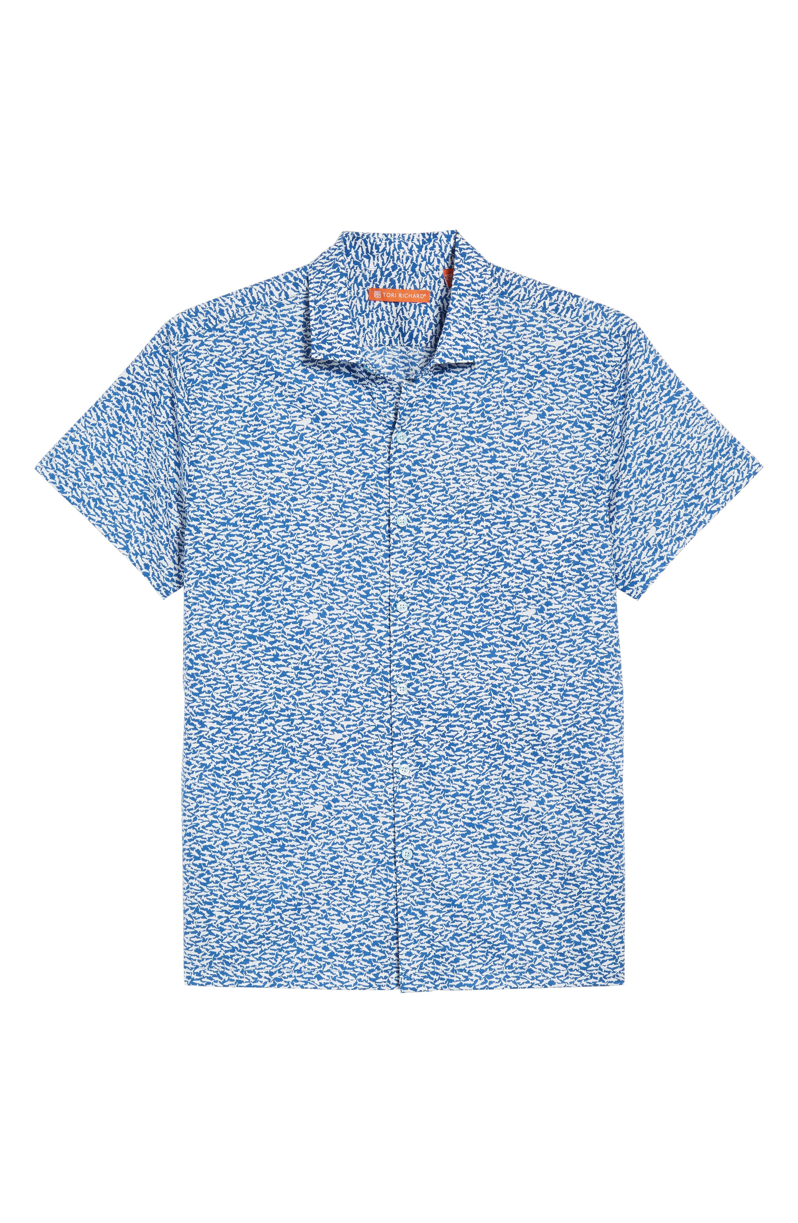 TORI RICHARD, Shark Tank Trim Fit Camp Shirt, Alternate thumbnail 6, color, MARINA