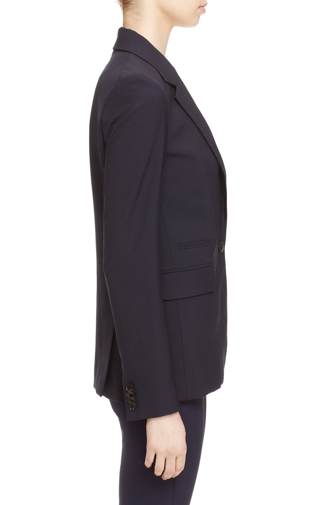VERONICA BEARD, 'Classic' Lambswool Blend Single Button Blazer, Alternate thumbnail 3, color, NAVY
