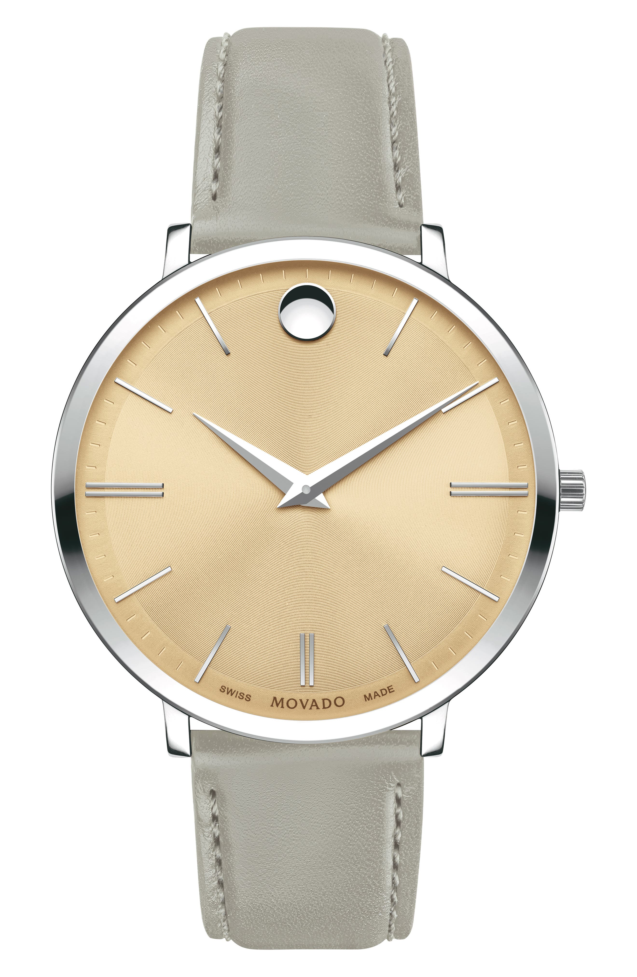 MOVADO, Ultraslim Leather Strap Watch, 35mm, Main thumbnail 1, color, GREY/ BEIGE/ SILVER