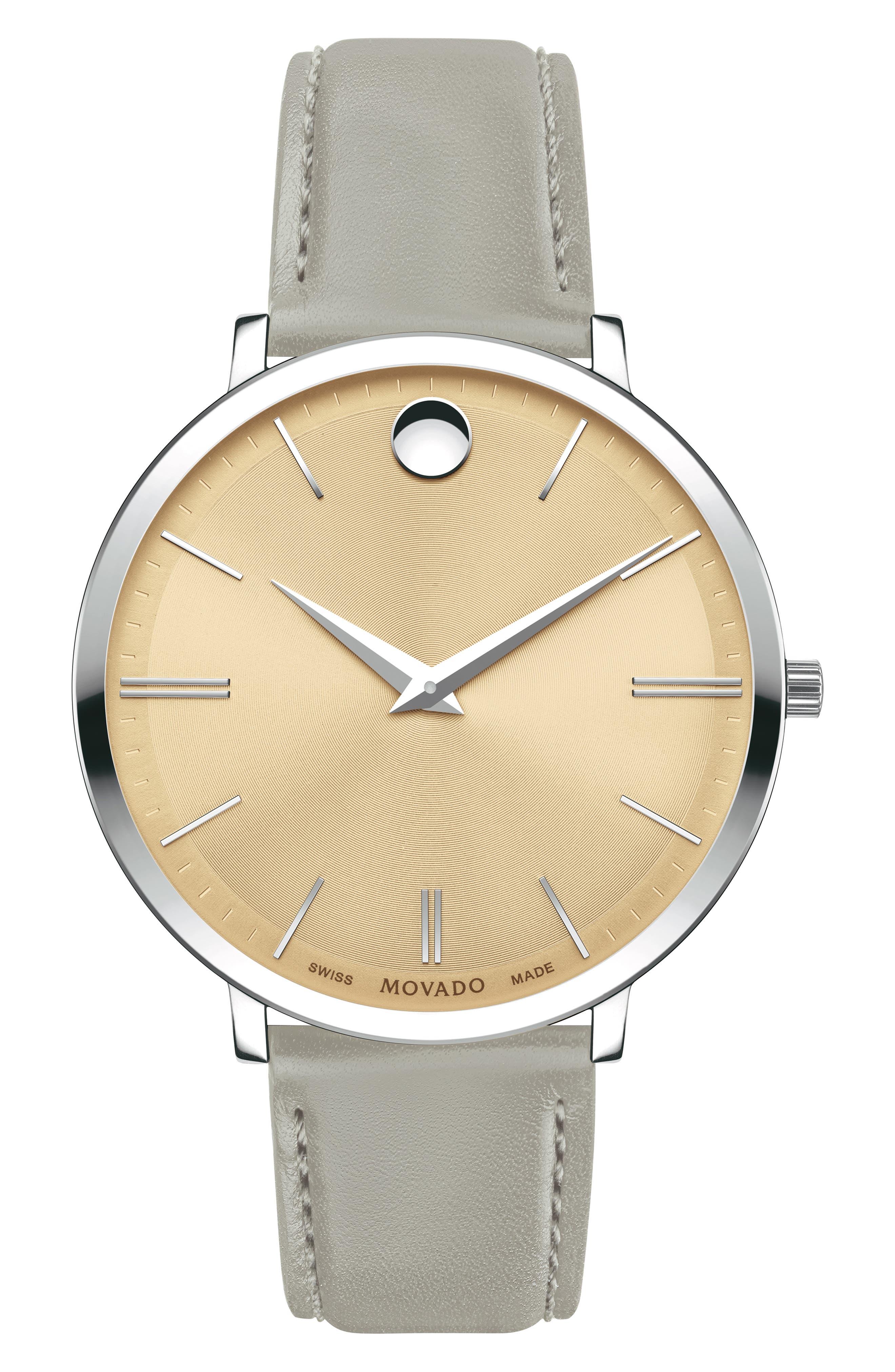 MOVADO Ultraslim Leather Strap Watch, 35mm, Main, color, GREY/ BEIGE/ SILVER