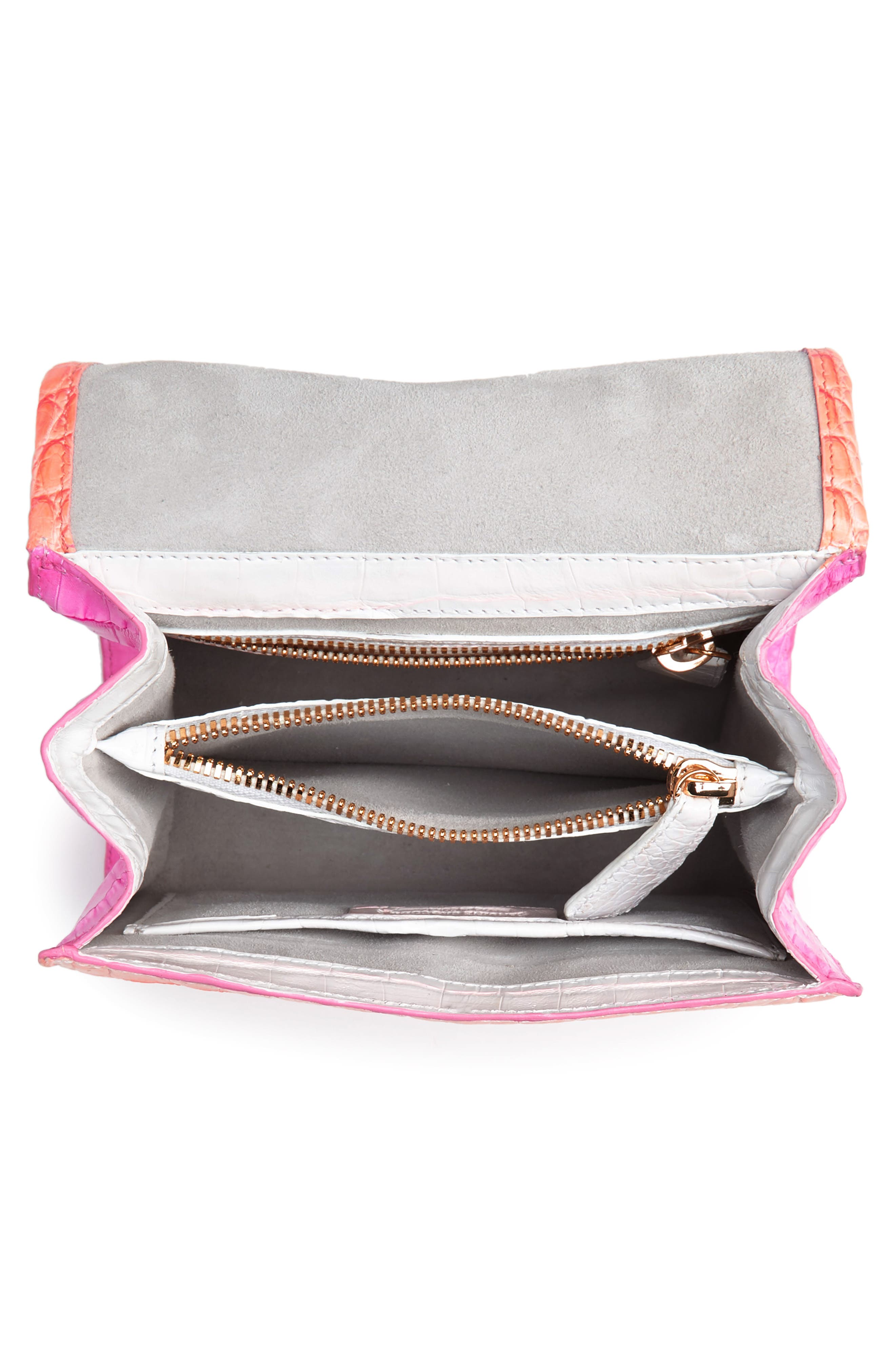 NANCY GONZALEZ, Mini Lily Genuine Crocodile Crossbody Bag, Alternate thumbnail 4, color, PINK DEGRADE
