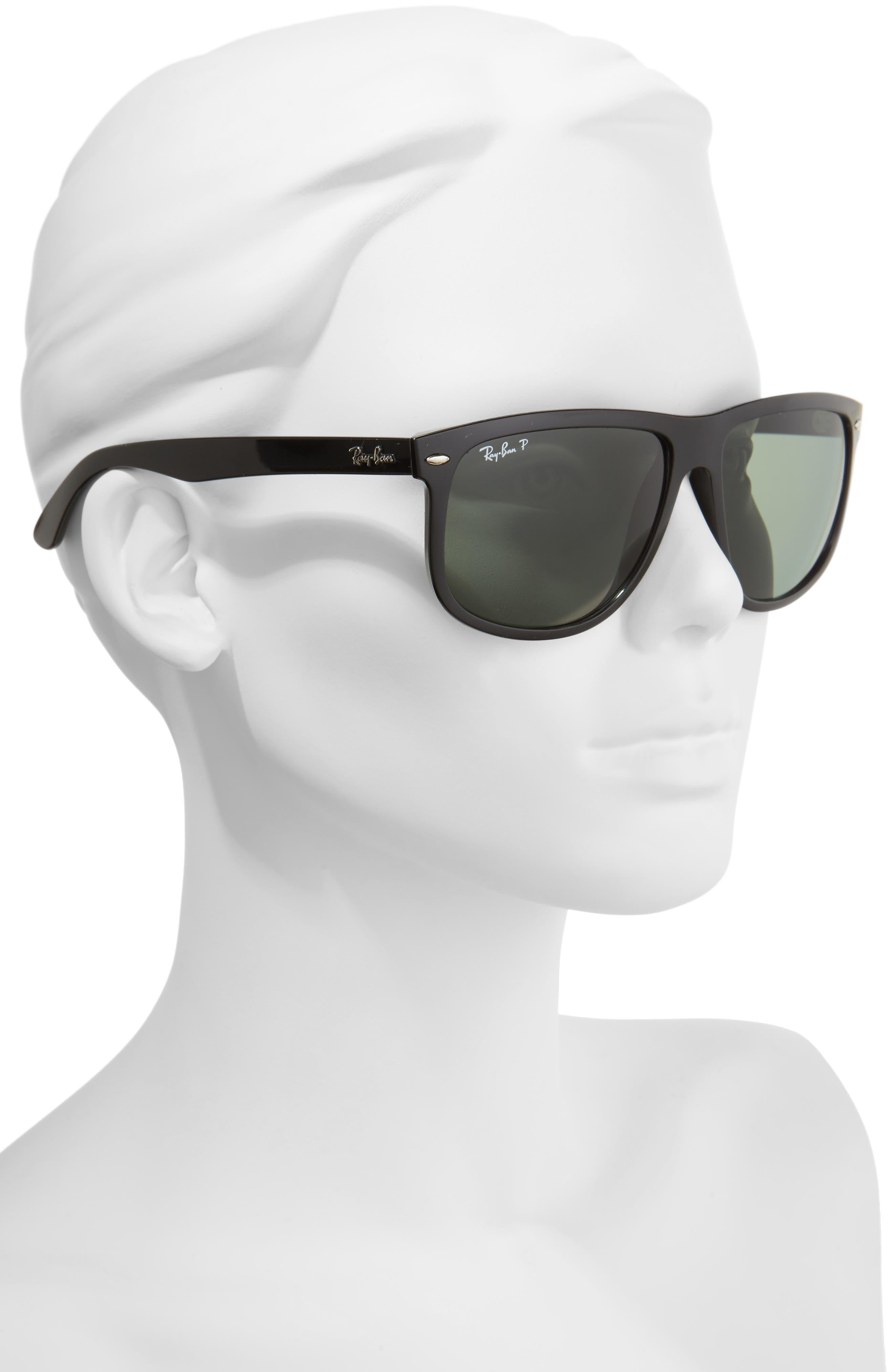 RAY-BAN, Highstreet 60mm Polarized Flat Top Sunglasses, Alternate thumbnail 3, color, BLACK POLARIZED