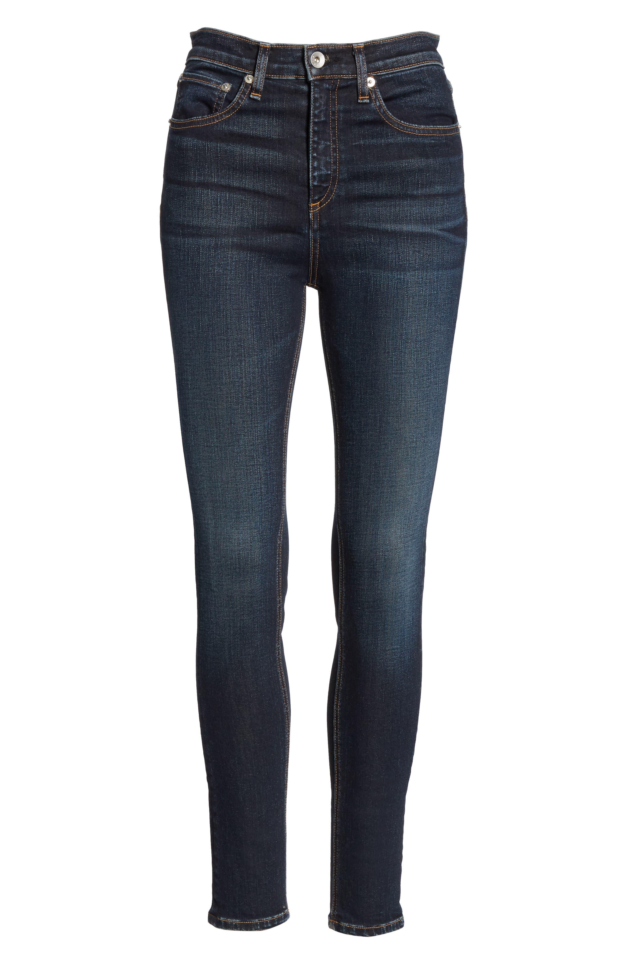 RAG & BONE, High Waist Ankle Skinny Jeans, Alternate thumbnail 7, color, 420