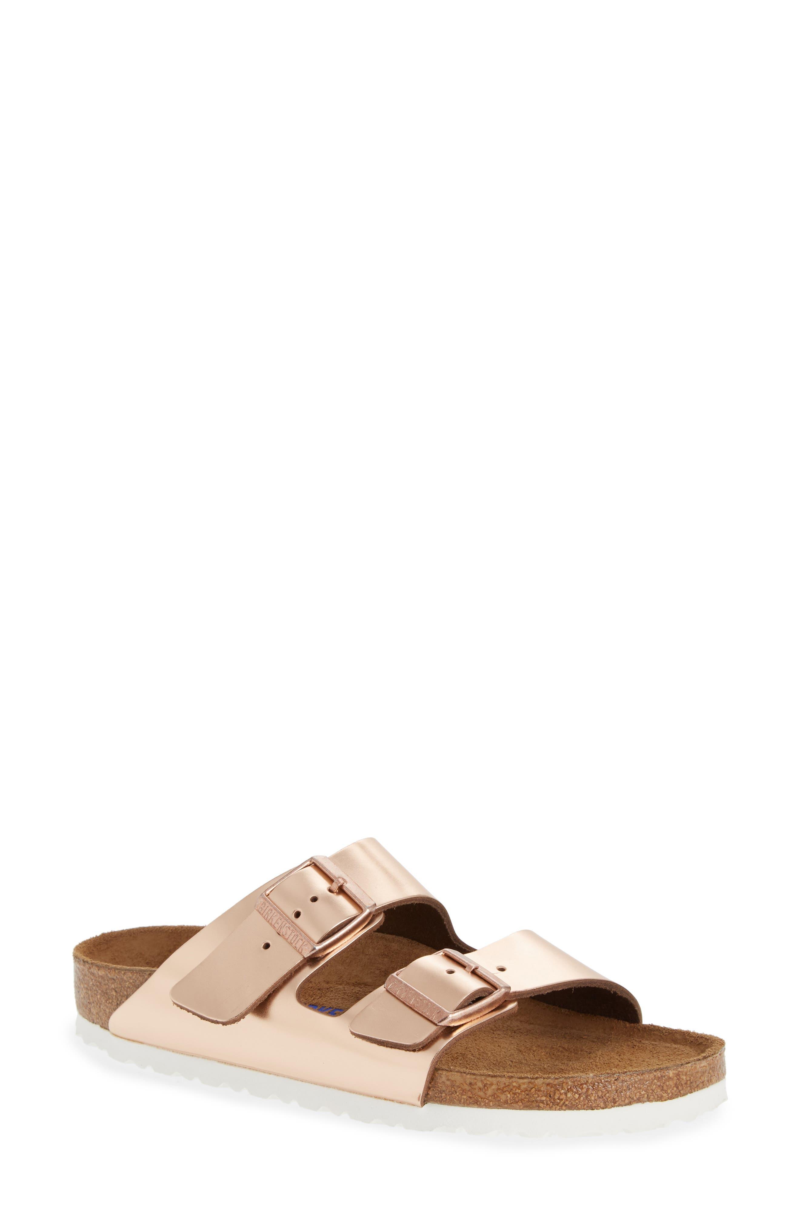 BIRKENSTOCK, 'Arizona' Soft Footbed Sandal, Main thumbnail 1, color, COPPER LEATHER