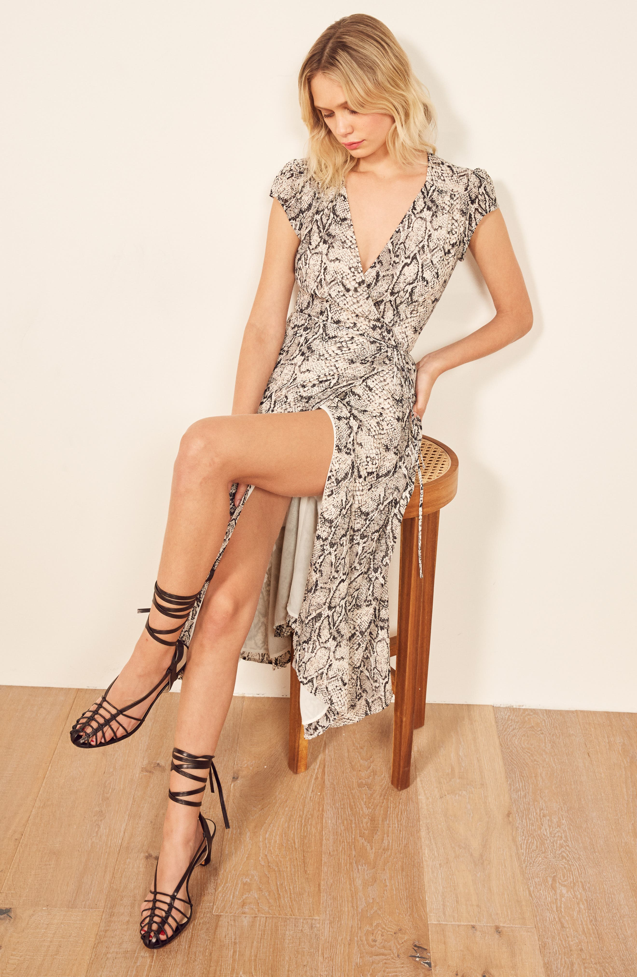 REFORMATION, Carina Midi Wrap Dress, Alternate thumbnail 2, color, RATTLESNAKE