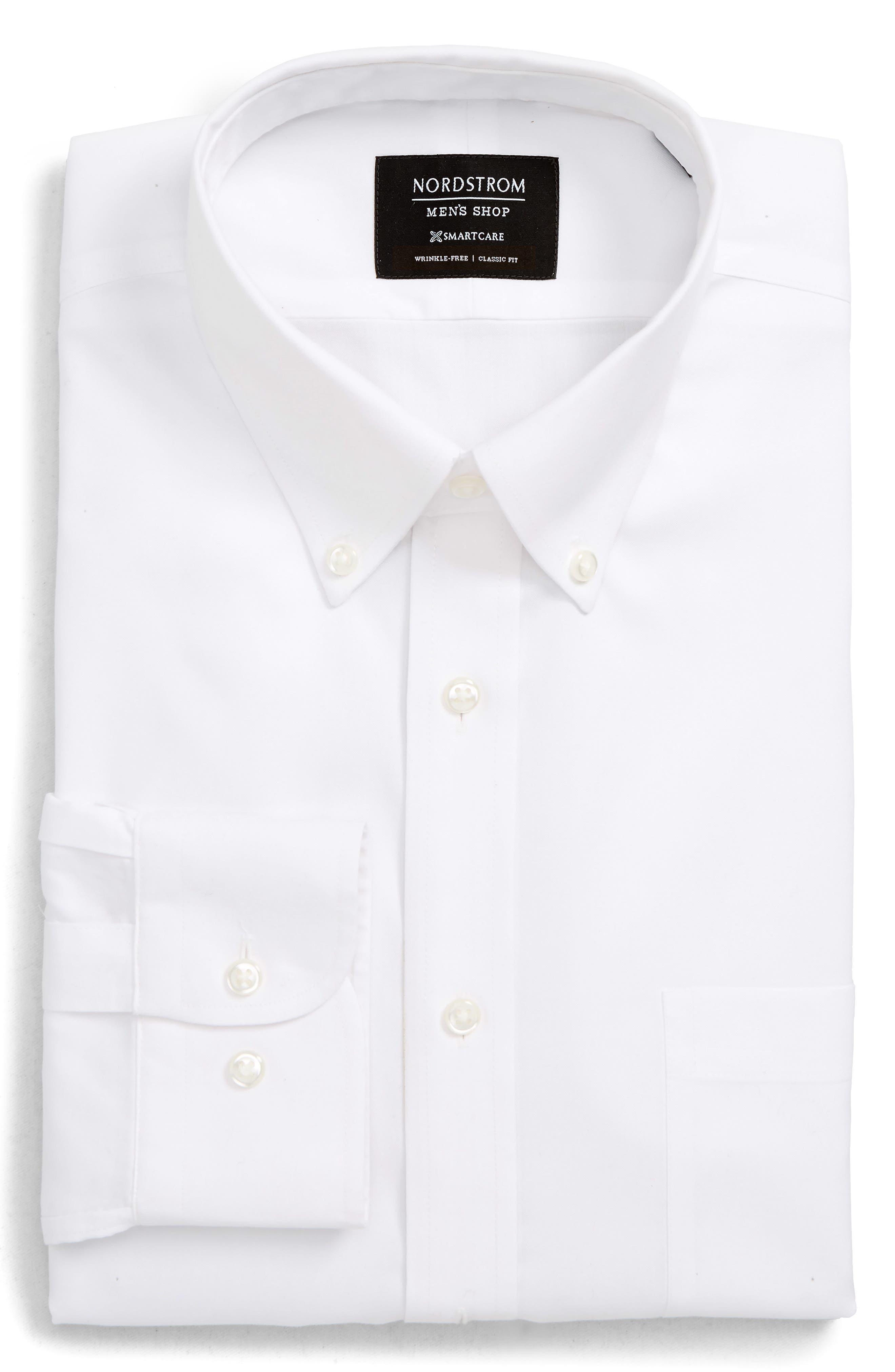 NORDSTROM MEN'S SHOP, Smartcare<sup>™</sup> Classic Fit Dress Shirt, Main thumbnail 1, color, WHITE BRILLIANT