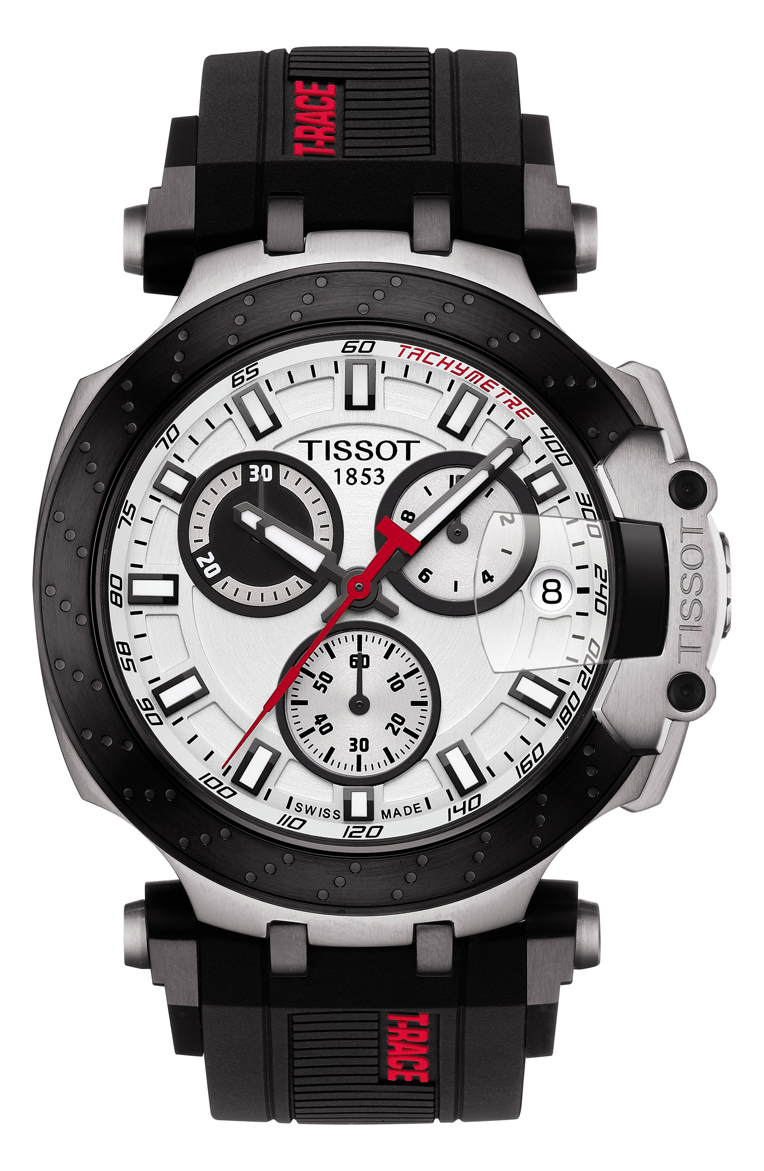 TISSOT T-Race Chronograph Silicone Strap Watch, 48mm, Main, color, BLACK/ WHITE/ SILVER