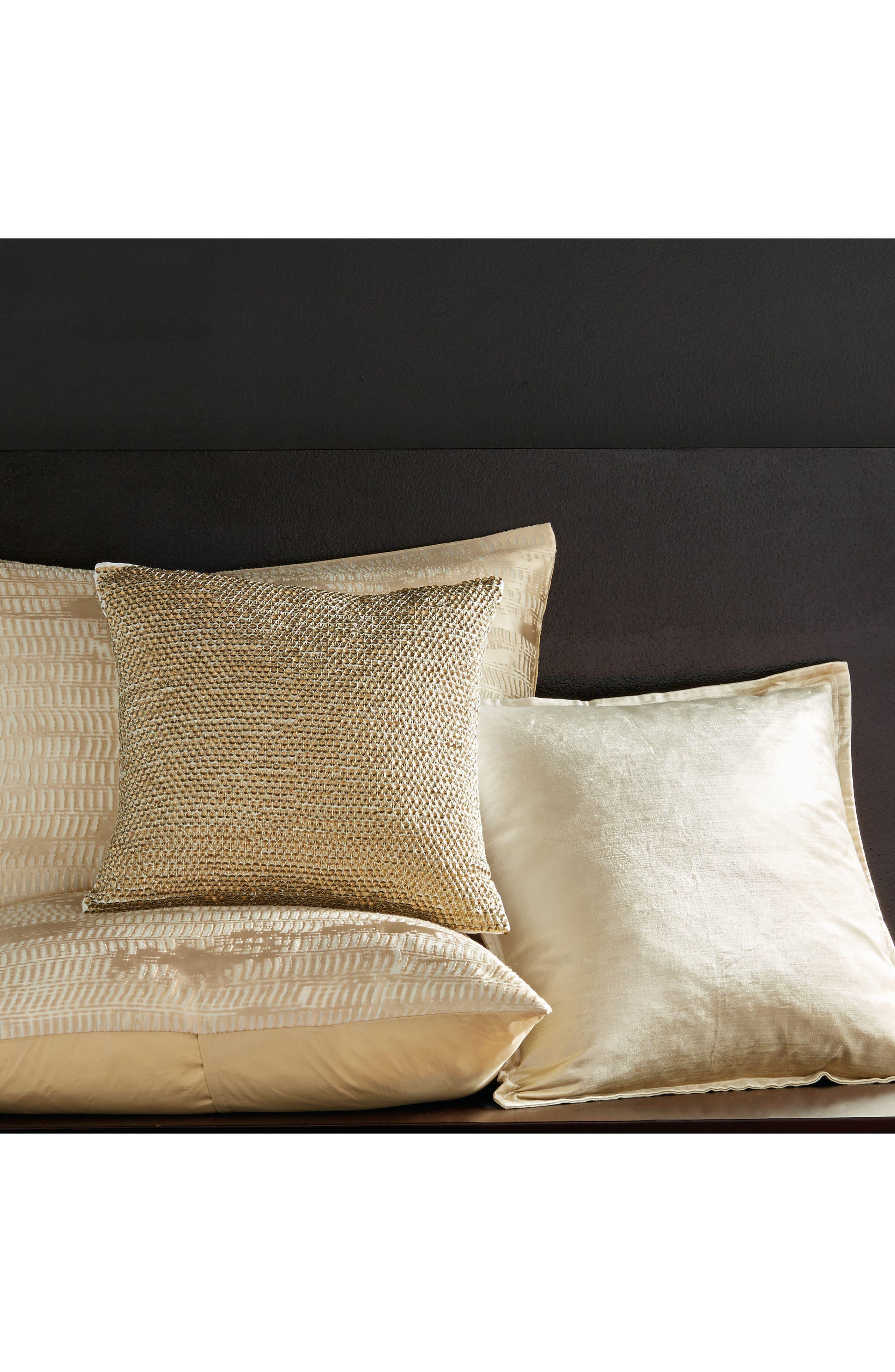 DONNA KARAN NEW YORK, Donna Karan Velvet Accent Pillow, Alternate thumbnail 2, color, GOLD DUST
