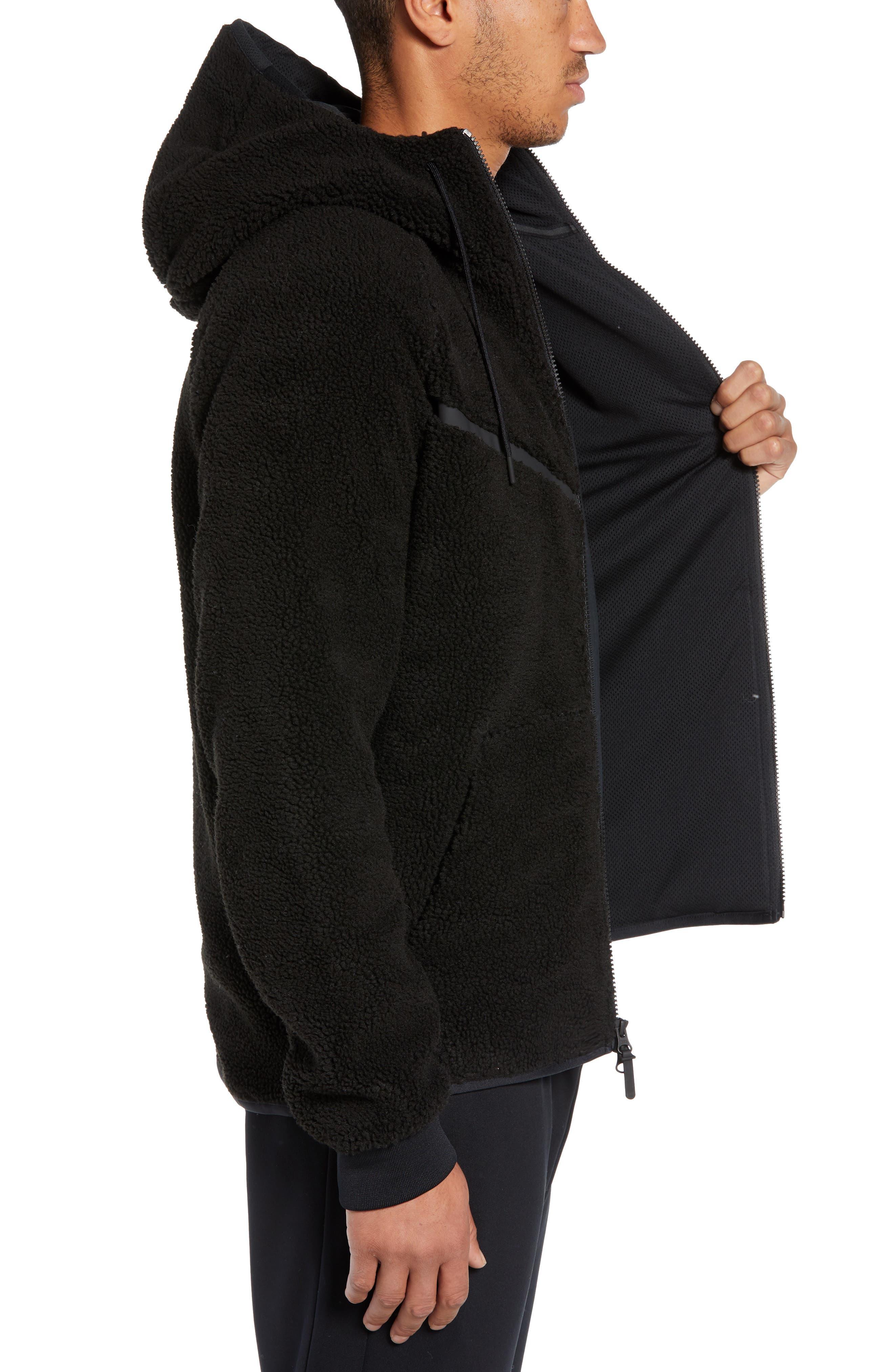NIKE, Tech Icon Fleece Zip Hoodie, Alternate thumbnail 4, color, BLACK/ BLACK