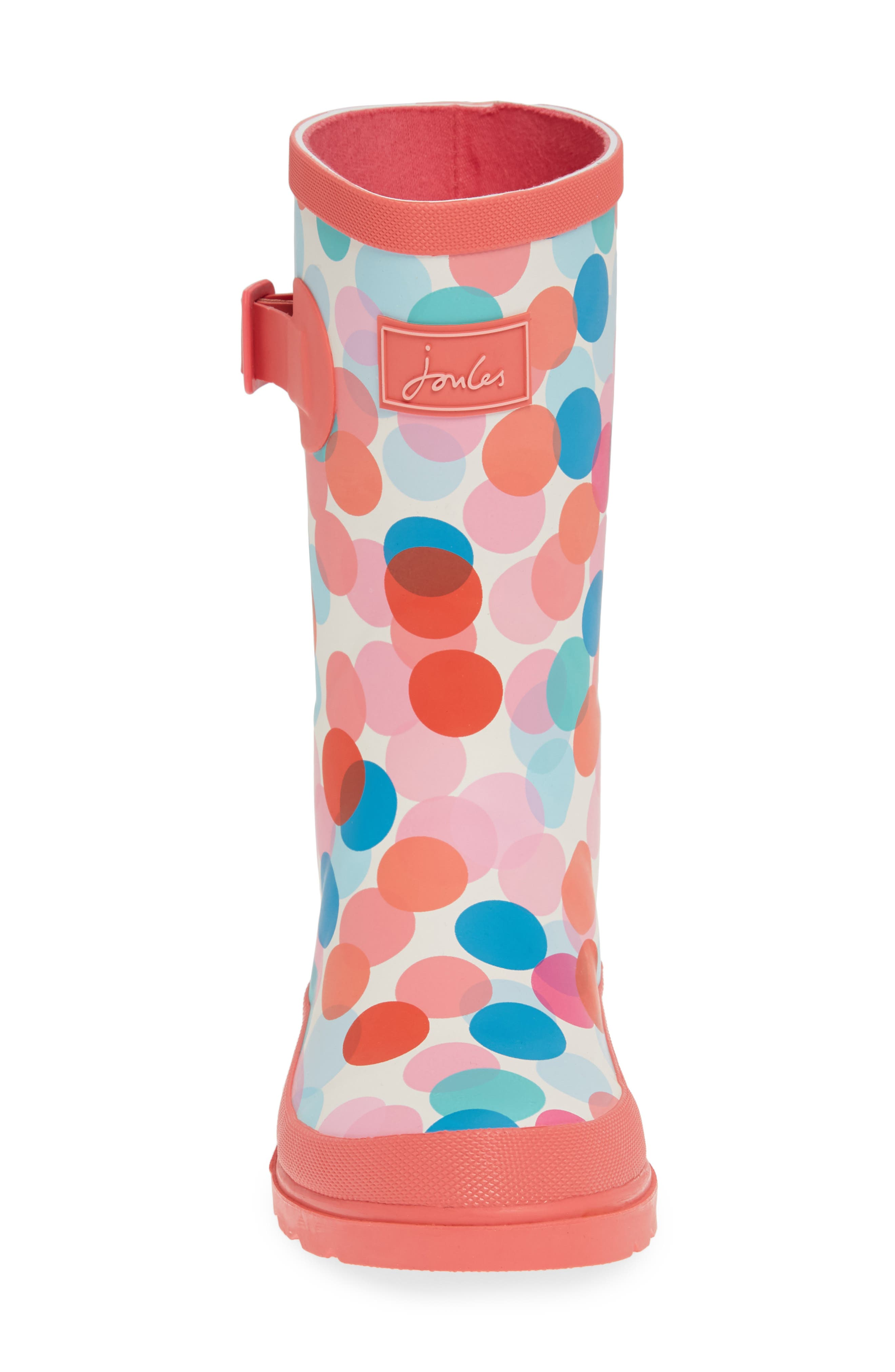 JOULES, Mid Height Print Welly Waterproof Rain Boot, Alternate thumbnail 4, color, CREAM FAIRY DITSY