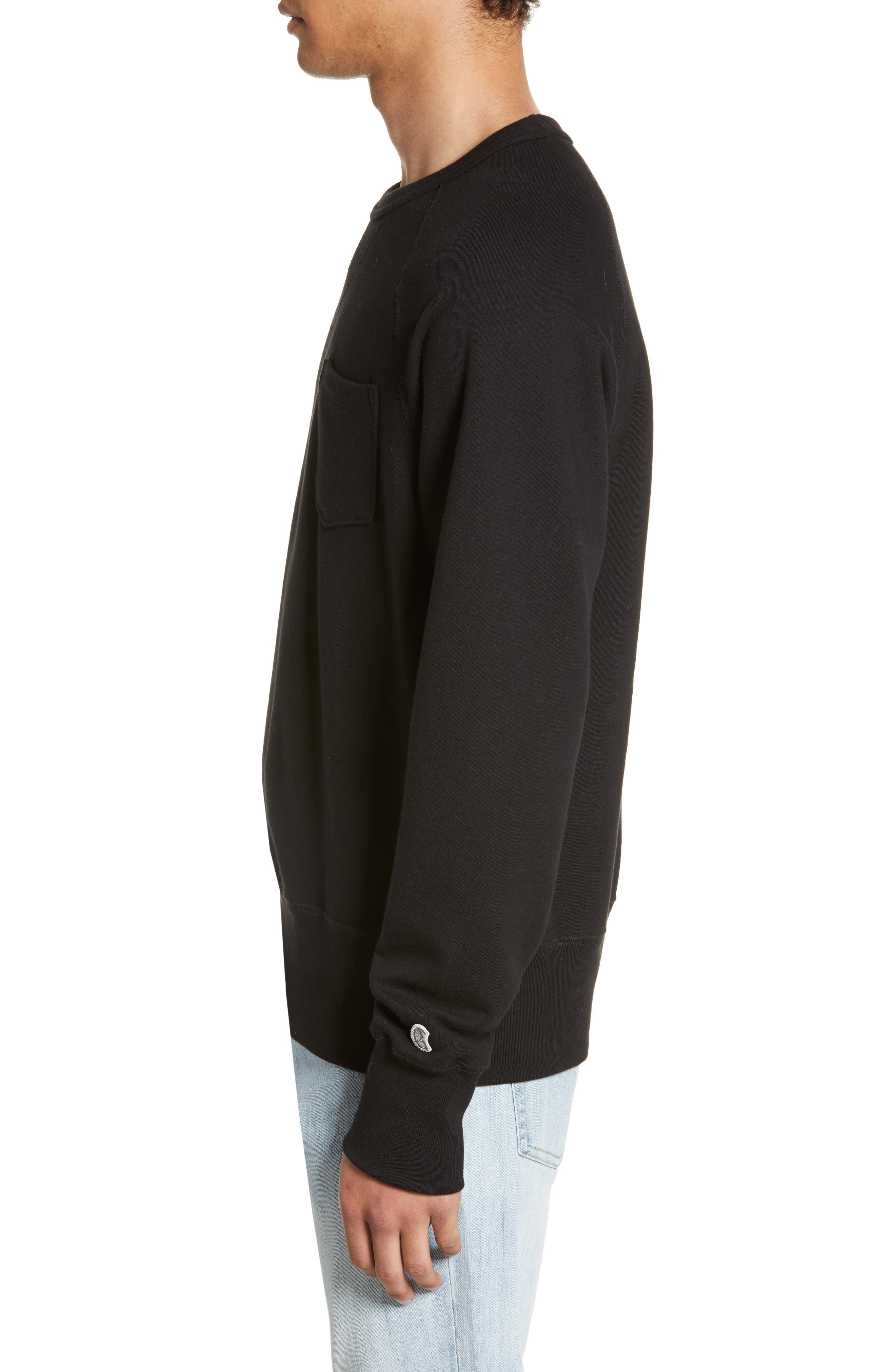 TODD SNYDER + CHAMPION, Todd Snyder Classic Pocket Sweatshirt, Alternate thumbnail 3, color, BLACK