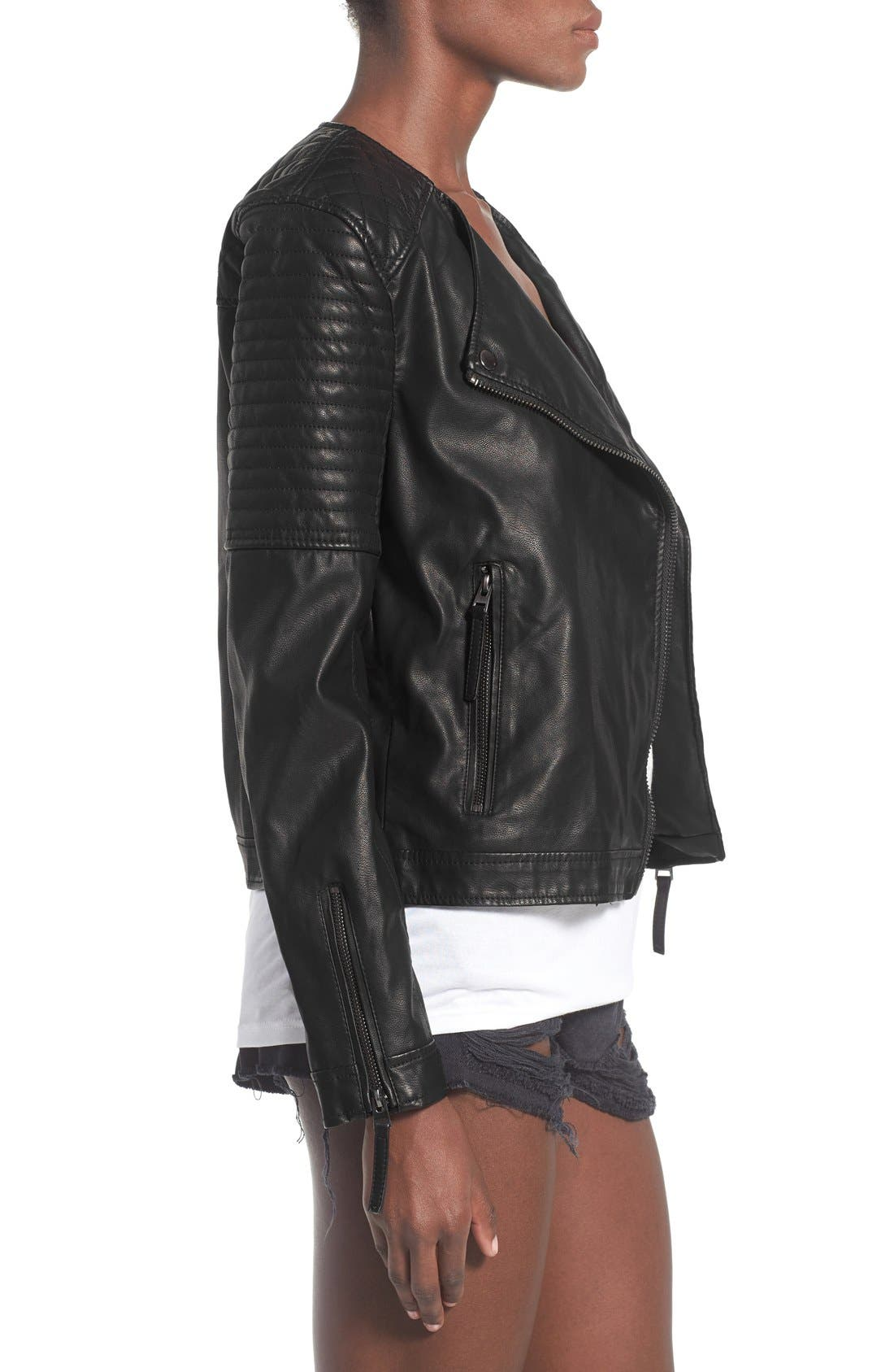 TOPSHOP, Faux Leather Biker Jacket, Alternate thumbnail 4, color, 001