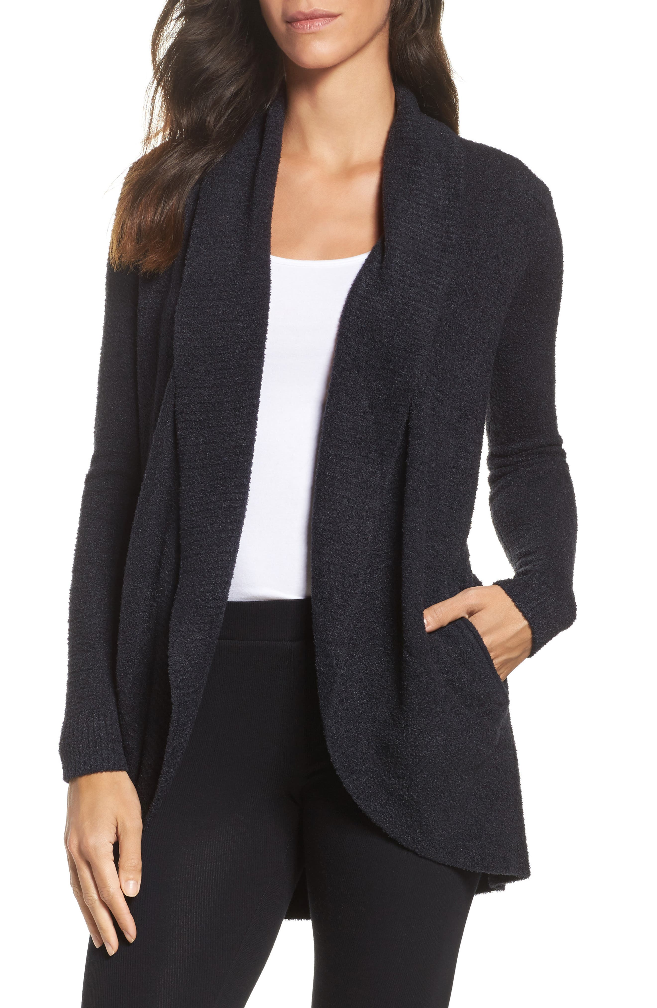 BAREFOOT DREAMS<SUP>®</SUP>, CozyChic Lite<sup>®</sup> Circle Cardigan, Main thumbnail 1, color, BLACK