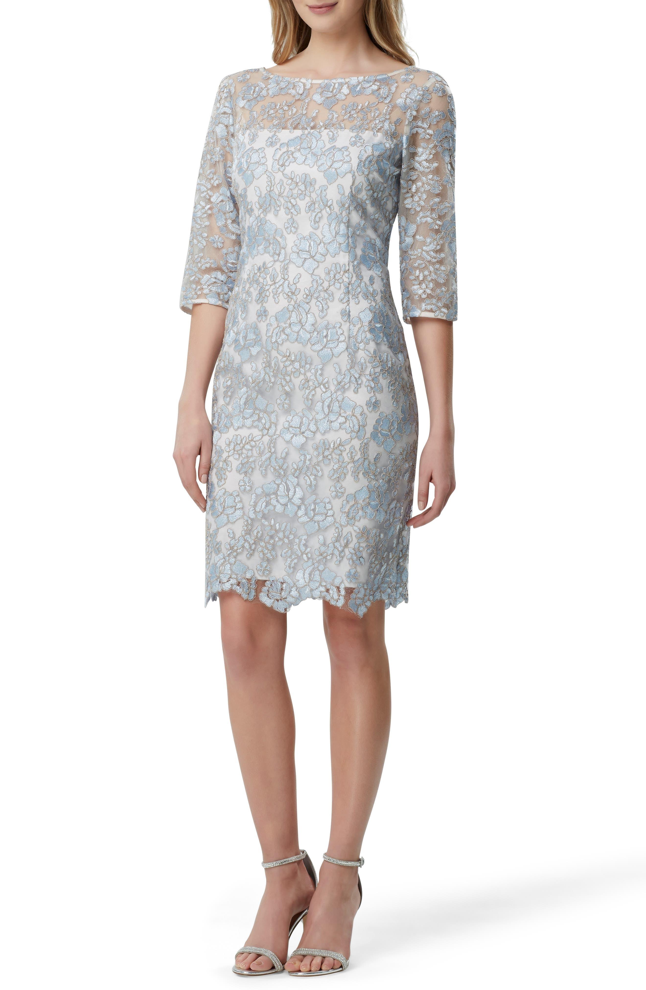 Tahari Floral Lace Sheath Dress, Blue
