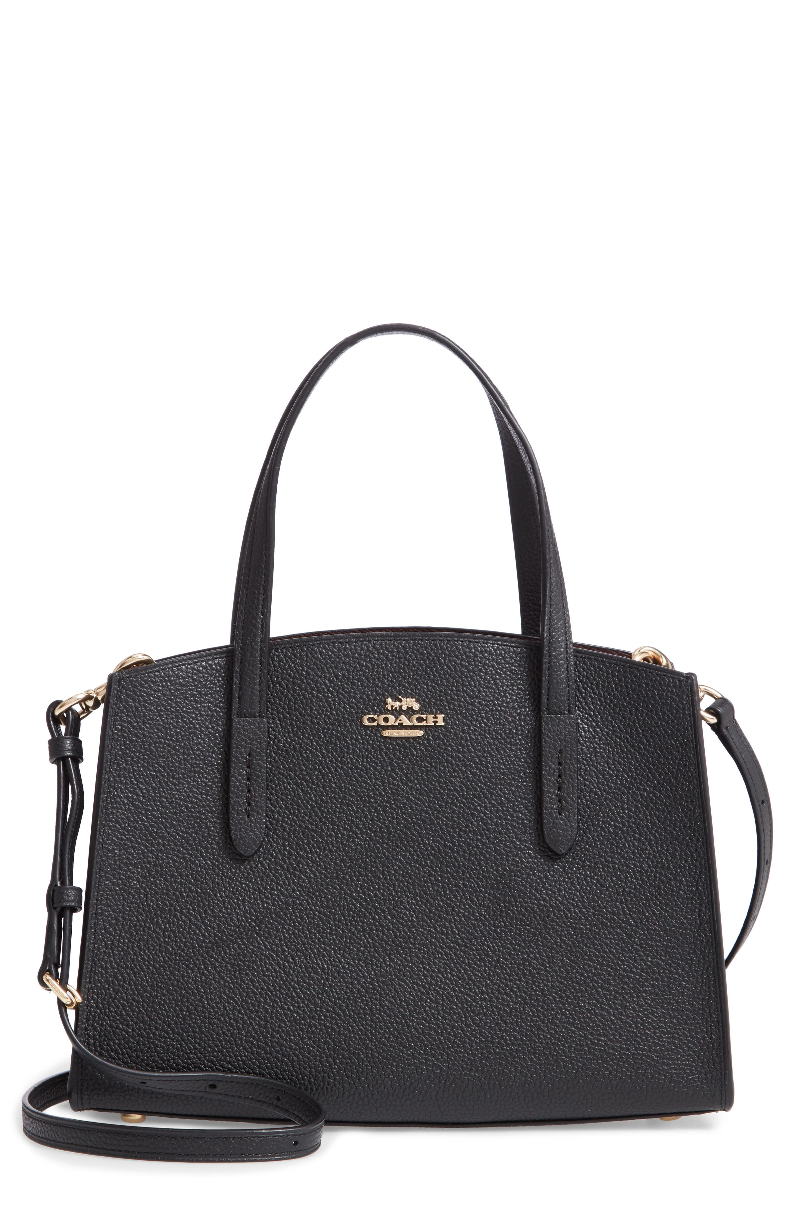 COACH Charlie Leather Tote, Main, color, BLACK