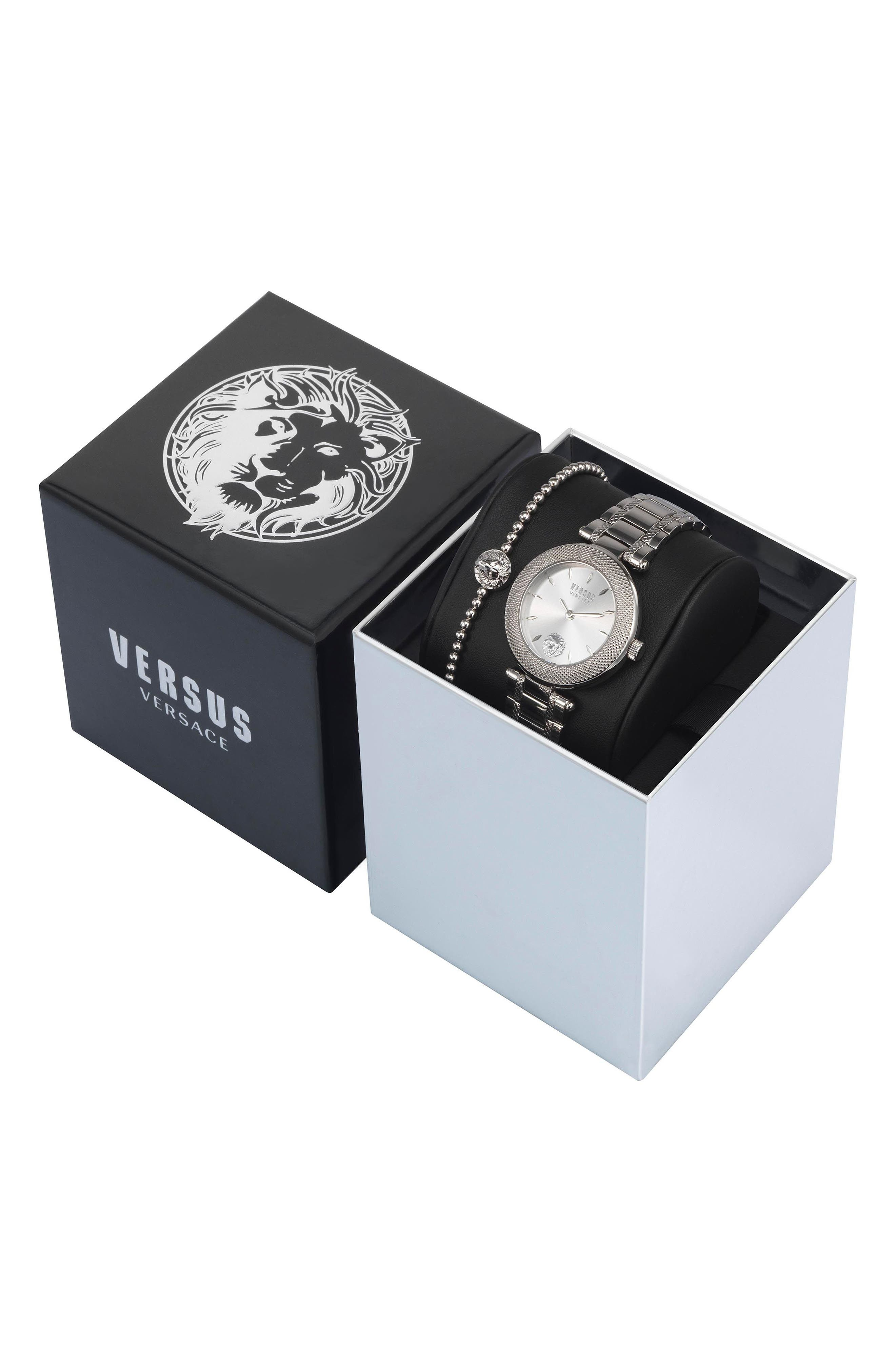 VERSUS VERSACE, Bricklane Watch Set, 36mm, Alternate thumbnail 4, color, SILVER