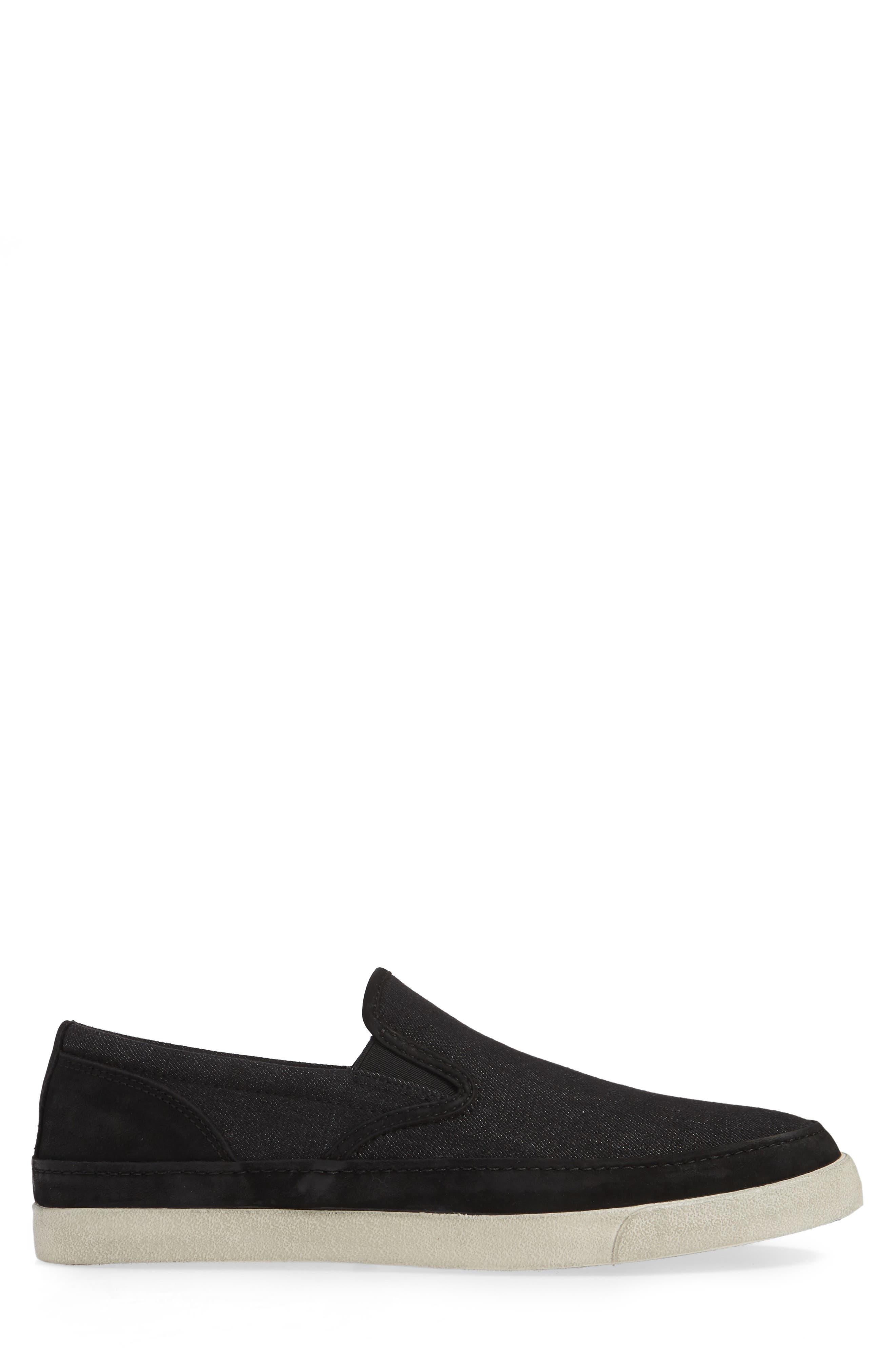JOHN VARVATOS STAR USA, Jet Canvas Slip-On Sneaker, Alternate thumbnail 3, color, MINERAL BLK