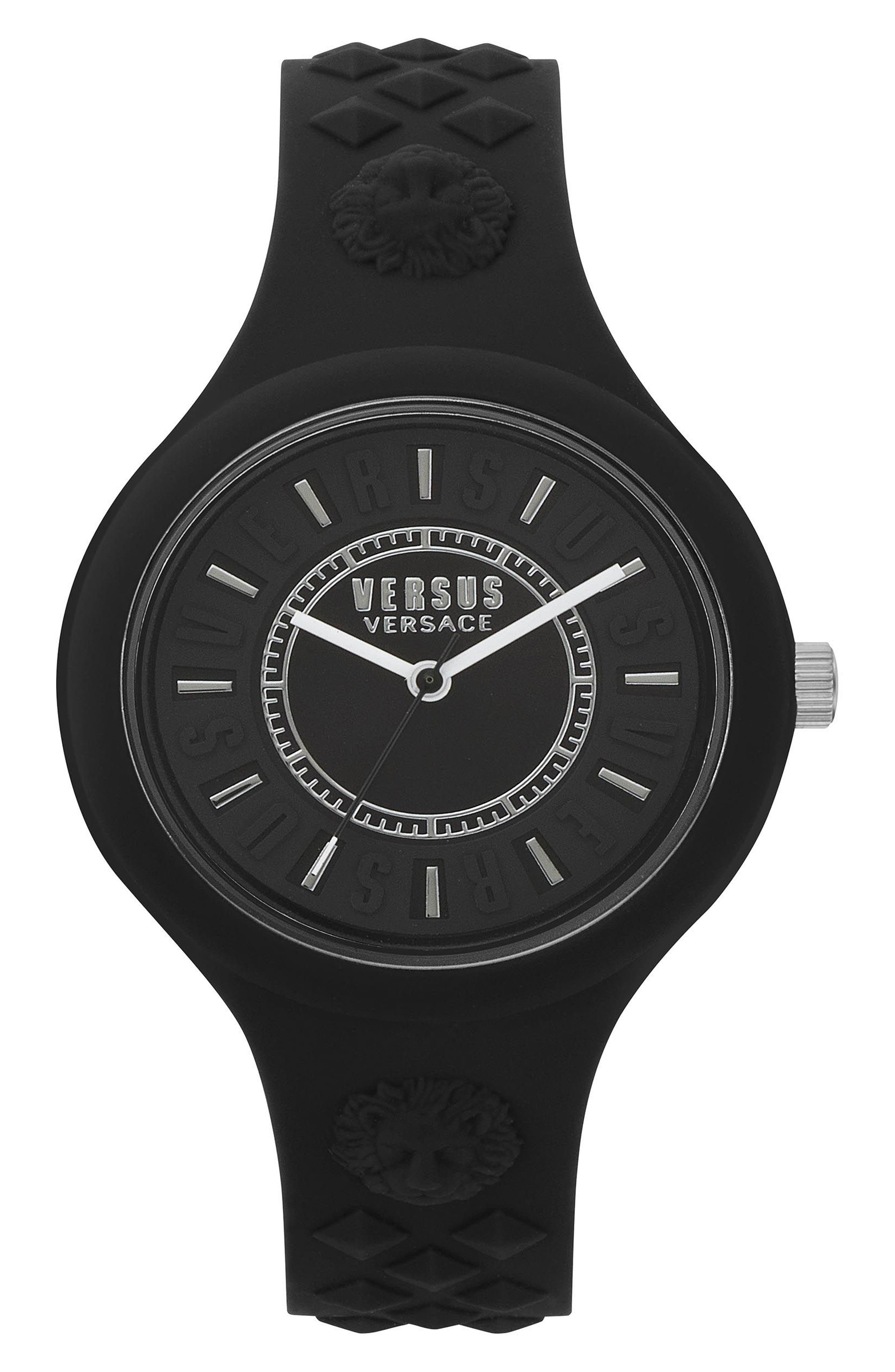 VERSUS VERSACE, Fire Island Silicone Strap Watch, 39mm, Main thumbnail 1, color, BLACK/ WHITE
