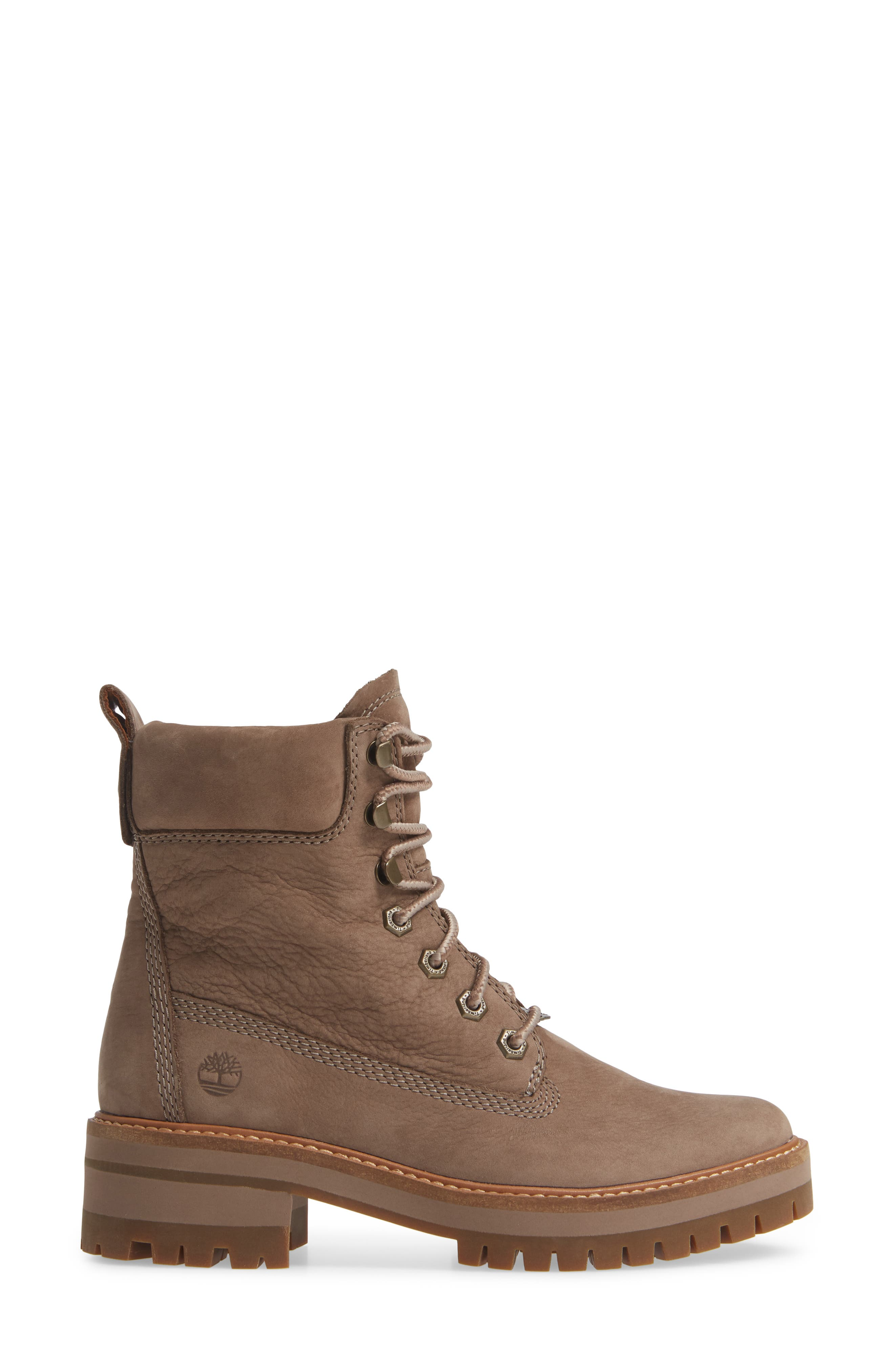 TIMBERLAND, Courmayeur Valley Water Resistant Hiking Boot, Alternate thumbnail 3, color, TAUPE GREY NUBUCK