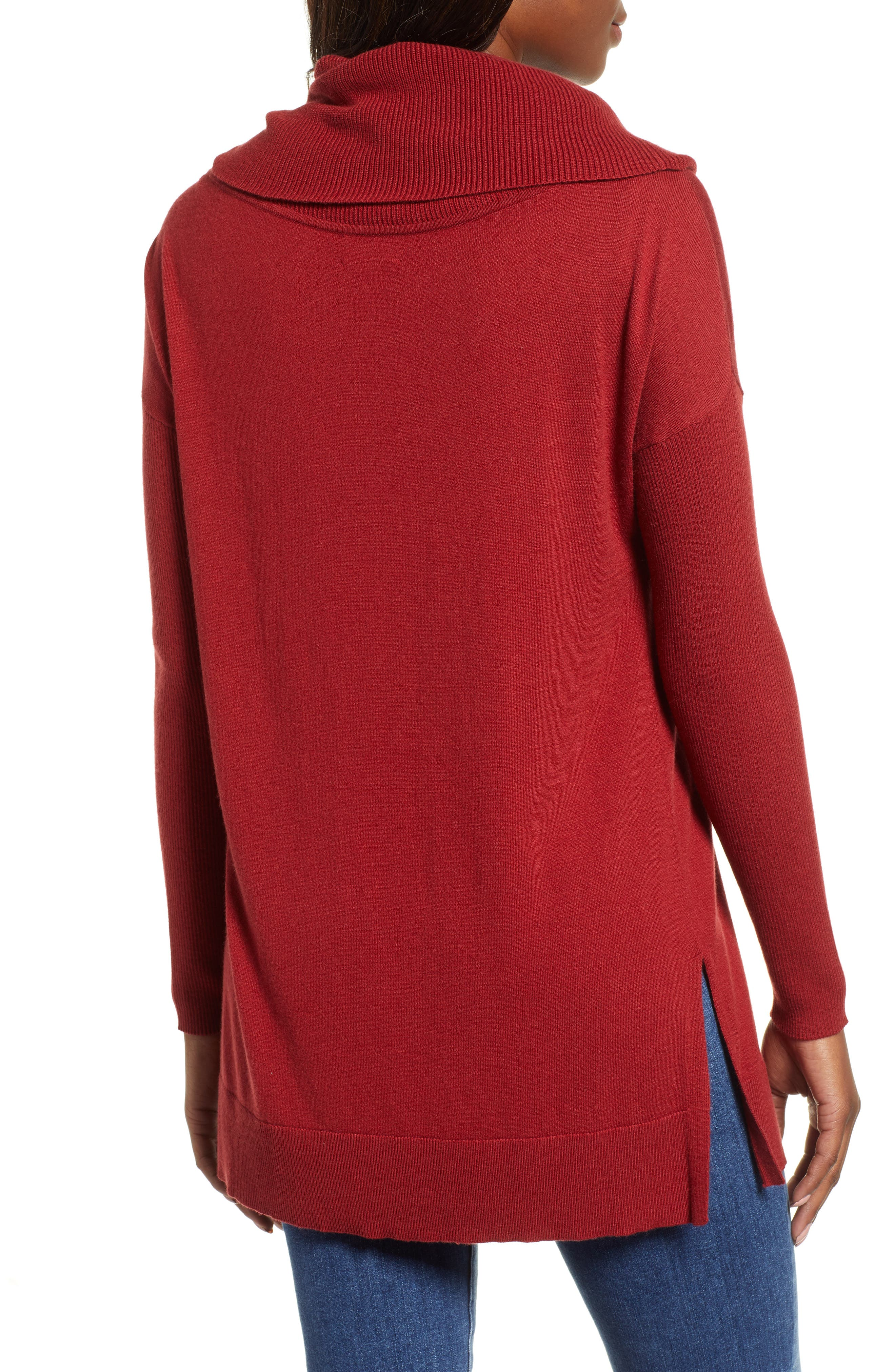 CASLON<SUP>®</SUP>, Side Slit Convertible Cowl Neck Tunic, Alternate thumbnail 2, color, RED SUN