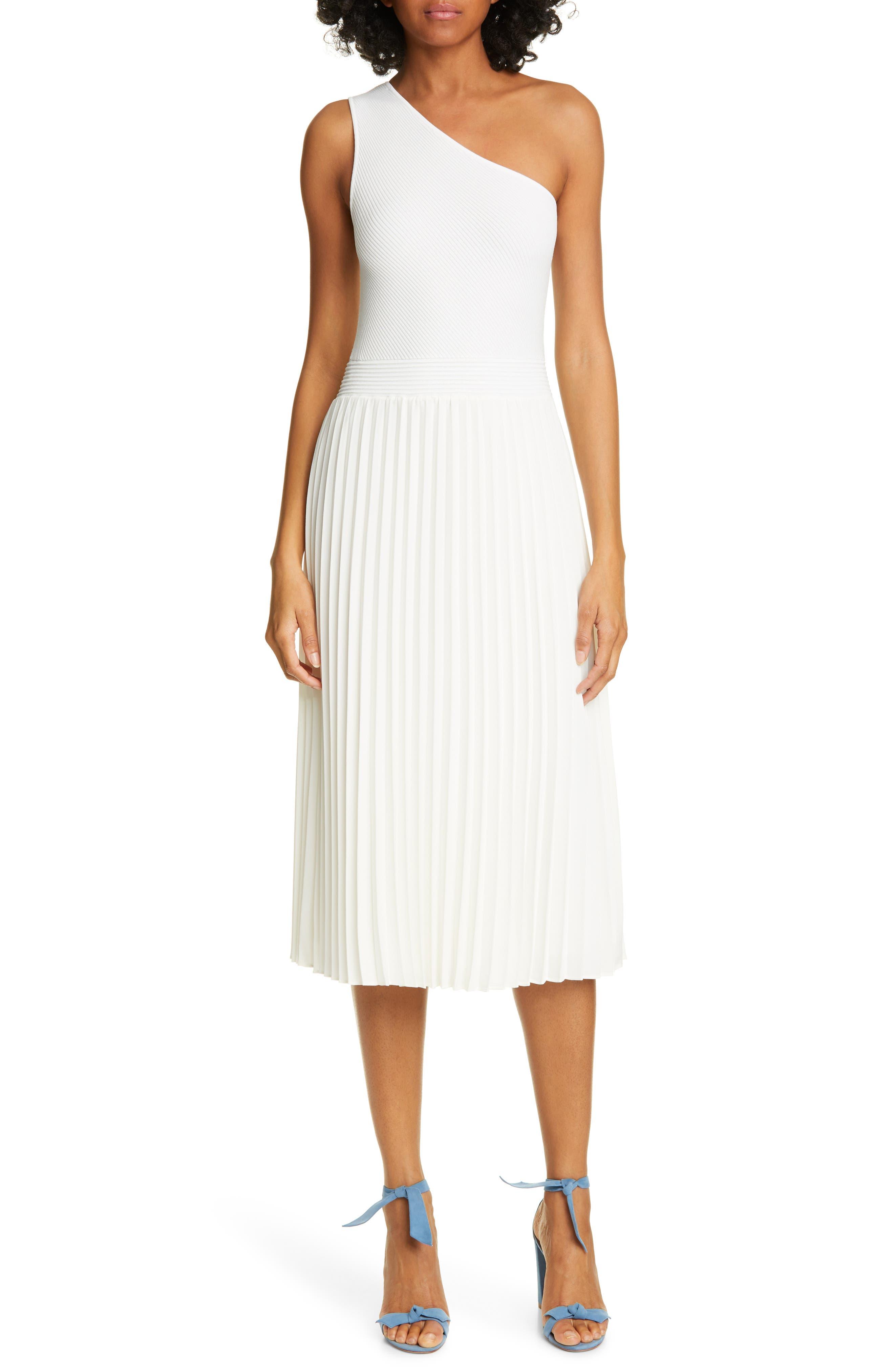 Ted Baker London Miriom Mixed Media One-Shoulder Dress, White