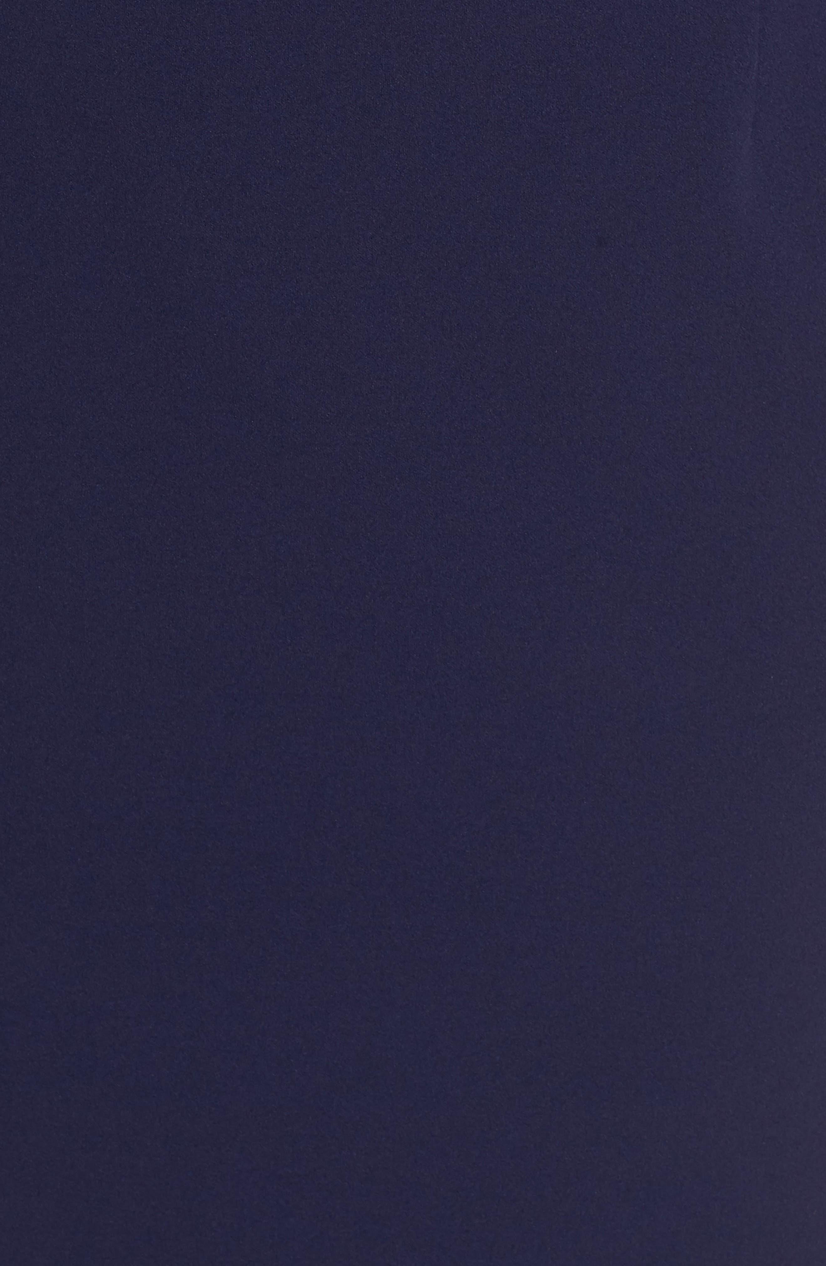 VINCE CAMUTO, Embellished Neck Sheath Dress, Alternate thumbnail 6, color, NAVY