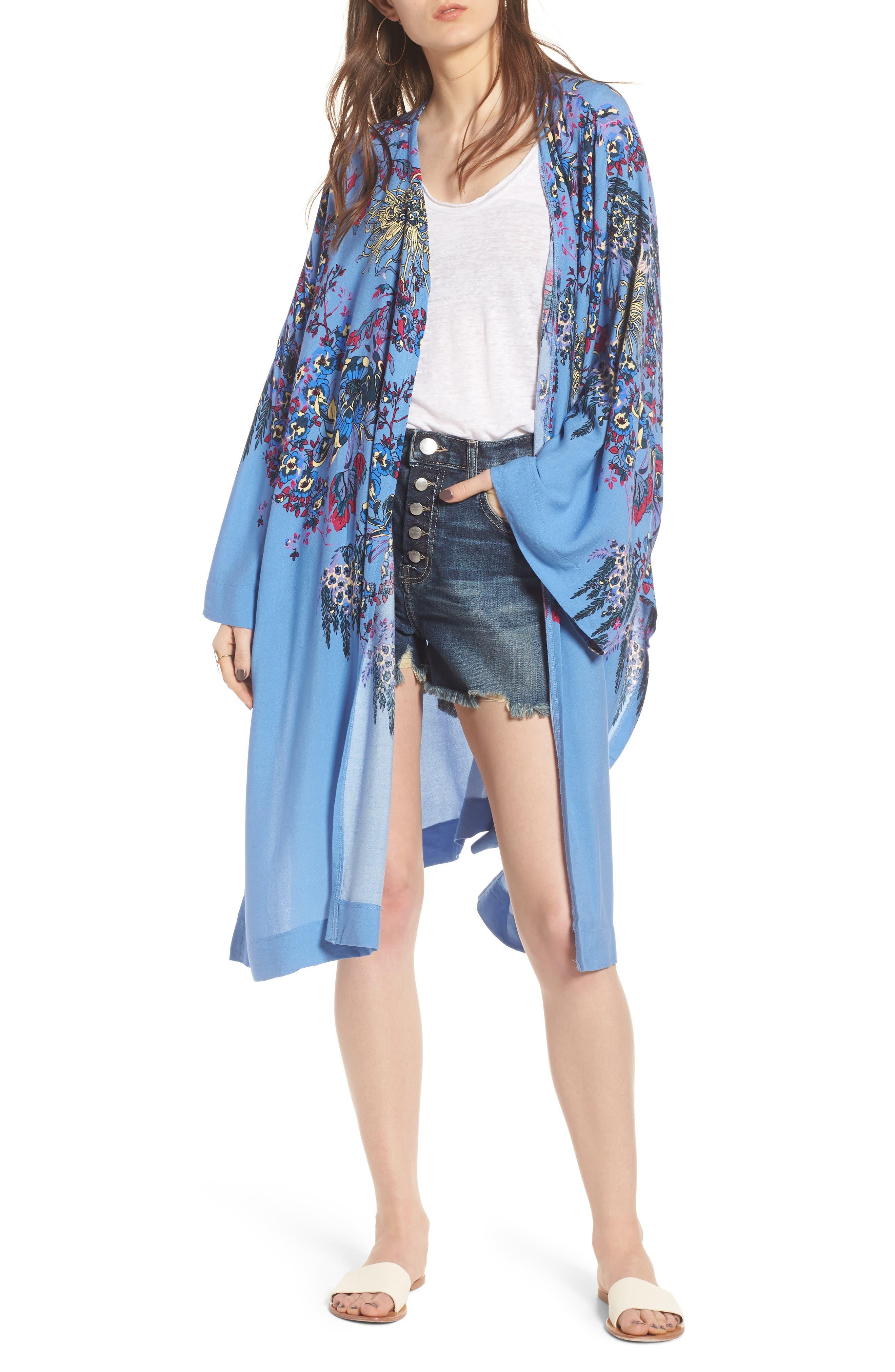 FREE PEOPLE Dont Know Kimono, Main, color, BLUE COMBO