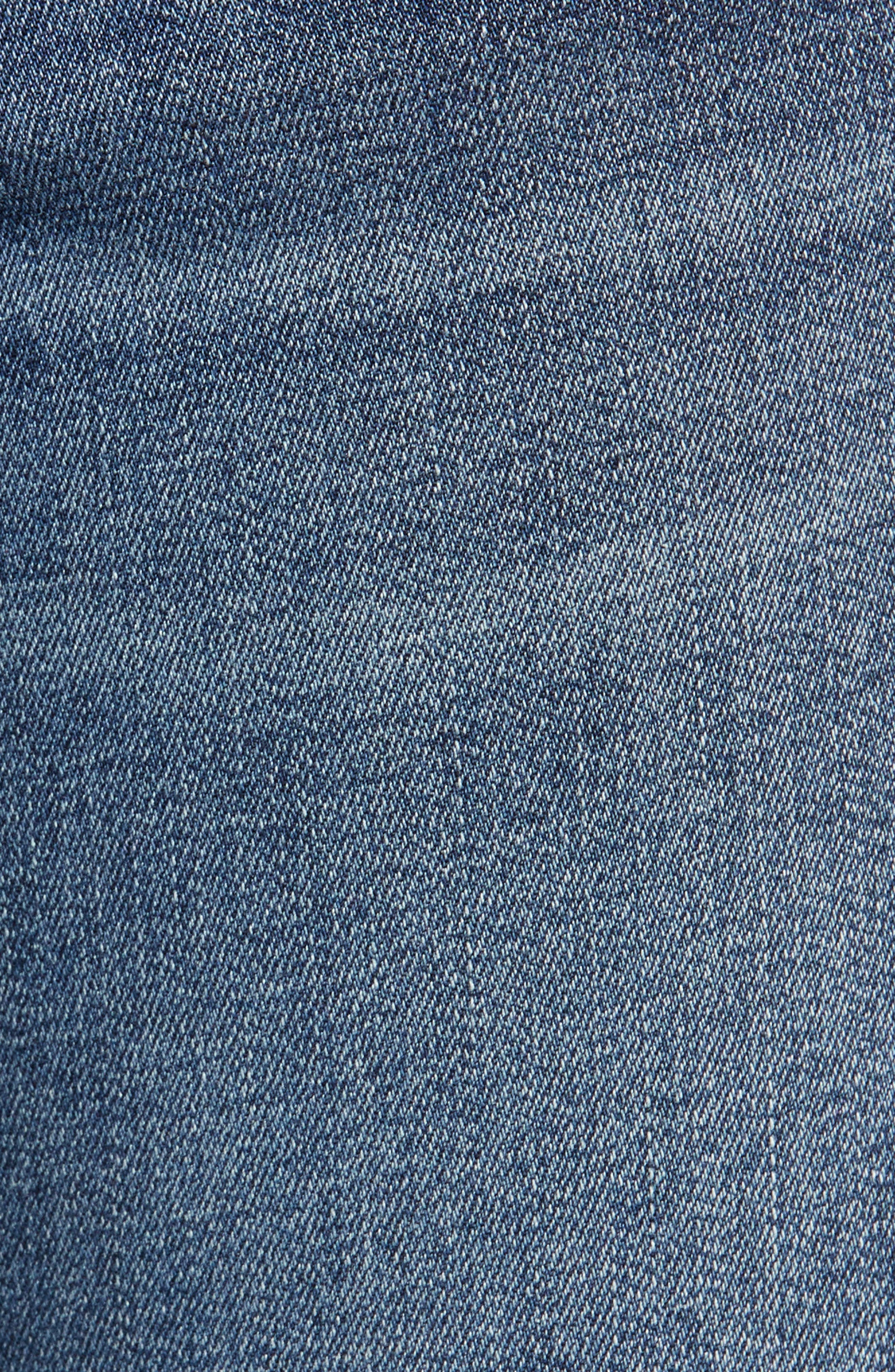 PROSPERITY DENIM, Released Hem Skinny Jeans, Alternate thumbnail 6, color, CLAUDIA MED WASH