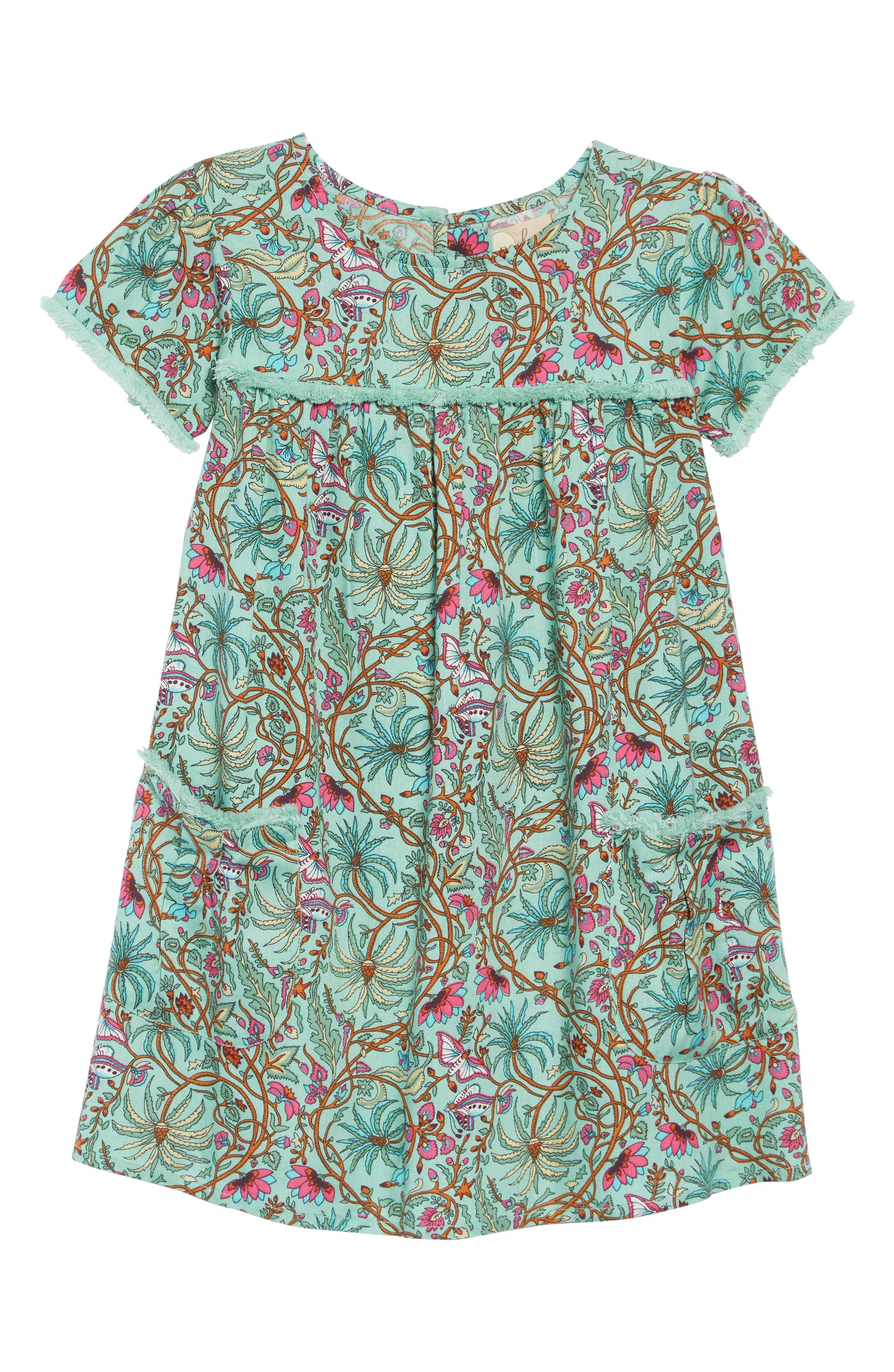 PEEK AREN'T YOU CURIOUS, Octavia Print Dress, Main thumbnail 1, color, GREEN