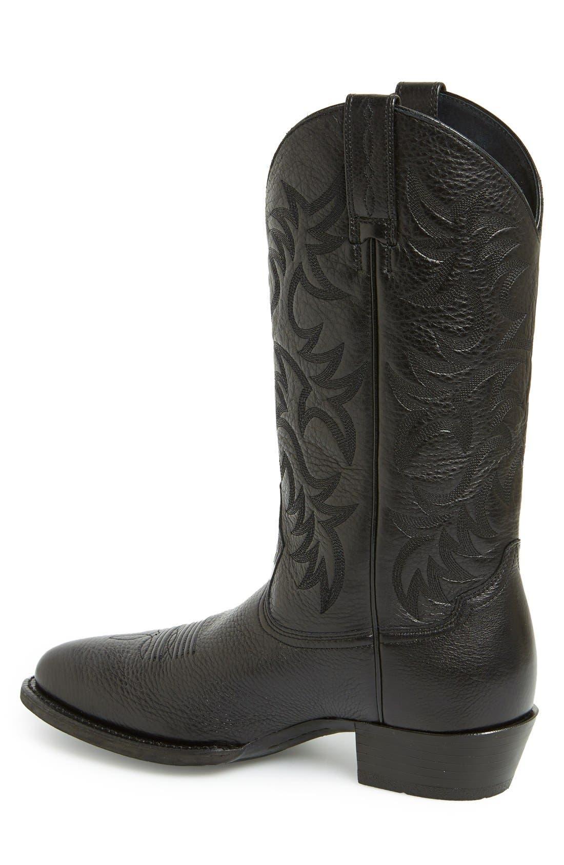 ARIAT, 'Heritage' Leather Cowboy R-Toe Boot, Alternate thumbnail 2, color, BLACK DEERTAN