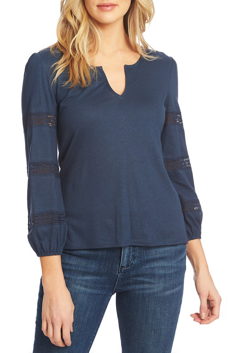1.state Tops LACE DETAIL SPLIT NECK TOP