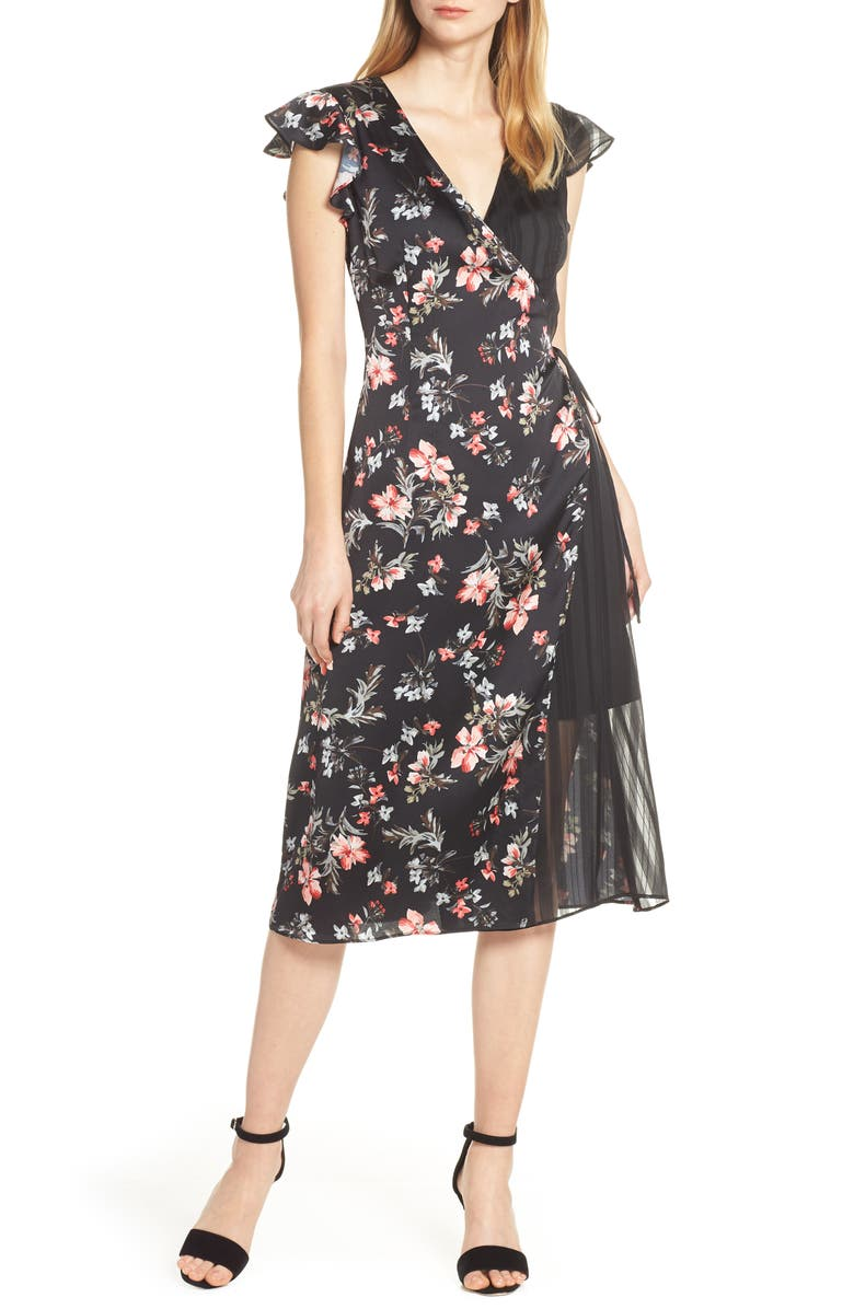 Avec Les Filles Dresses Cosmo Flower Satin & Chiffon Wrap Dress