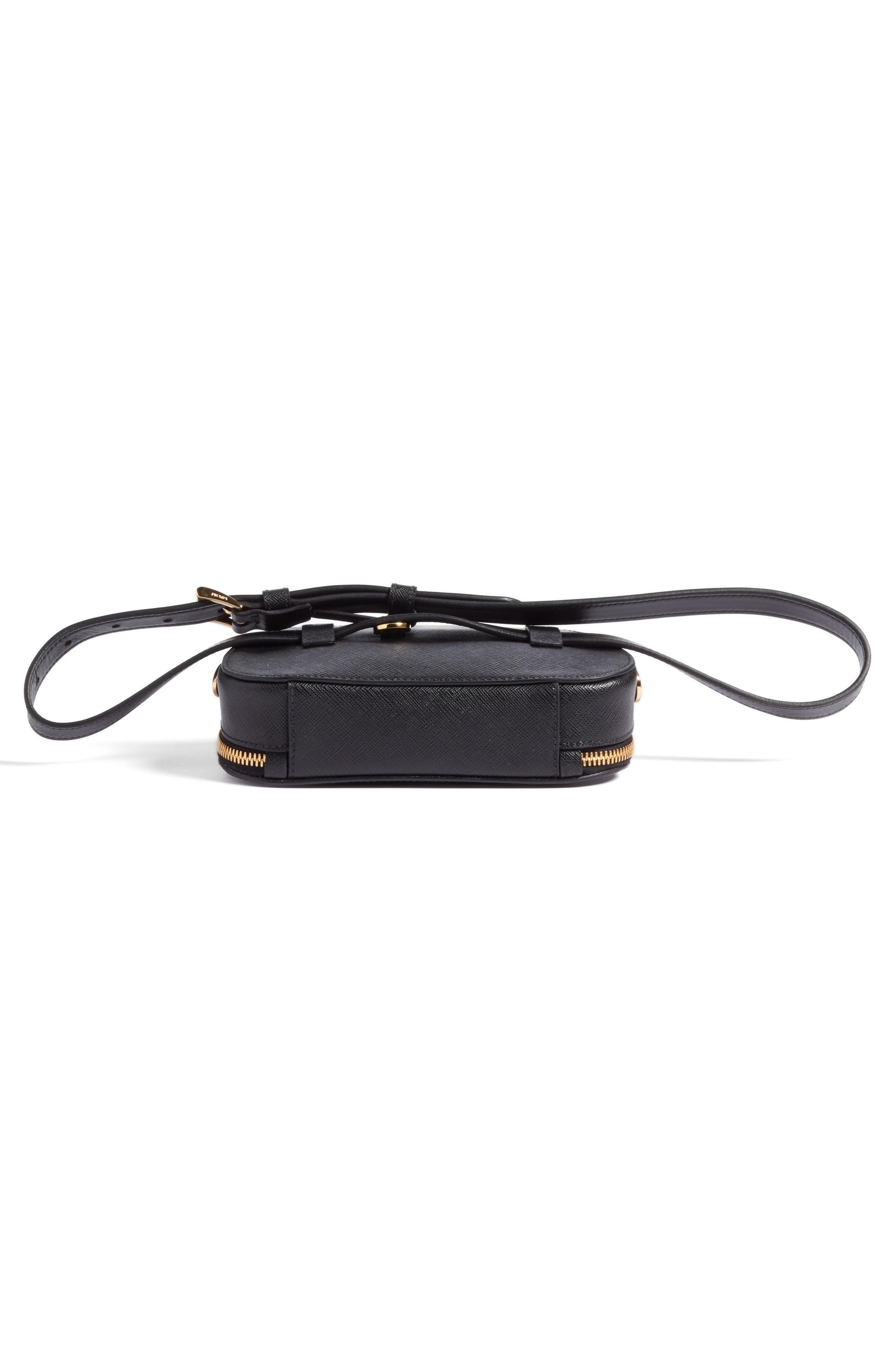 PRADA, Saffiano Leather Belt Bag, Alternate thumbnail 7, color, 001